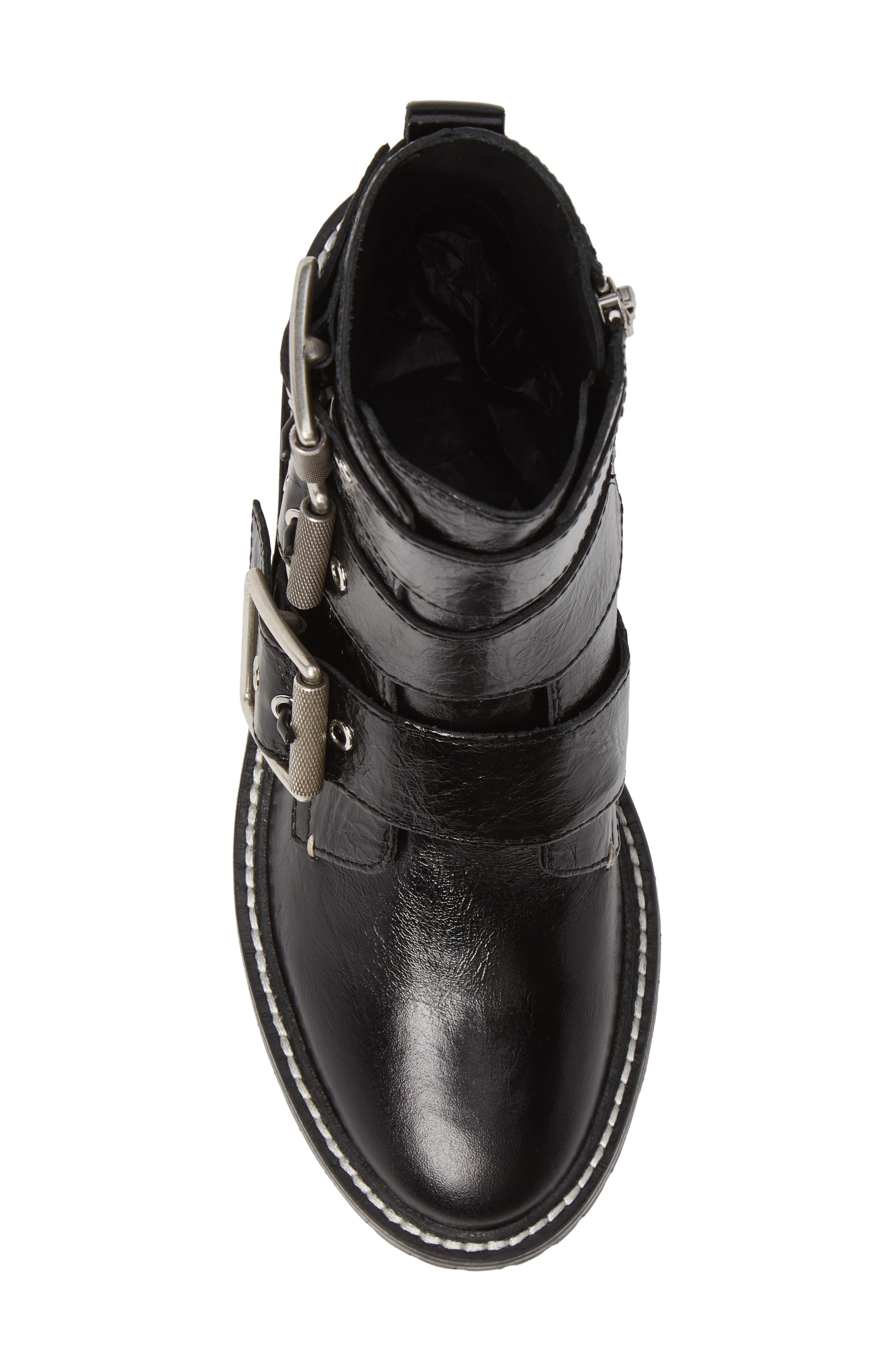 RAG & BONE, Cannon Buckle Moto Boot, Alternate thumbnail 5, color, BLACK