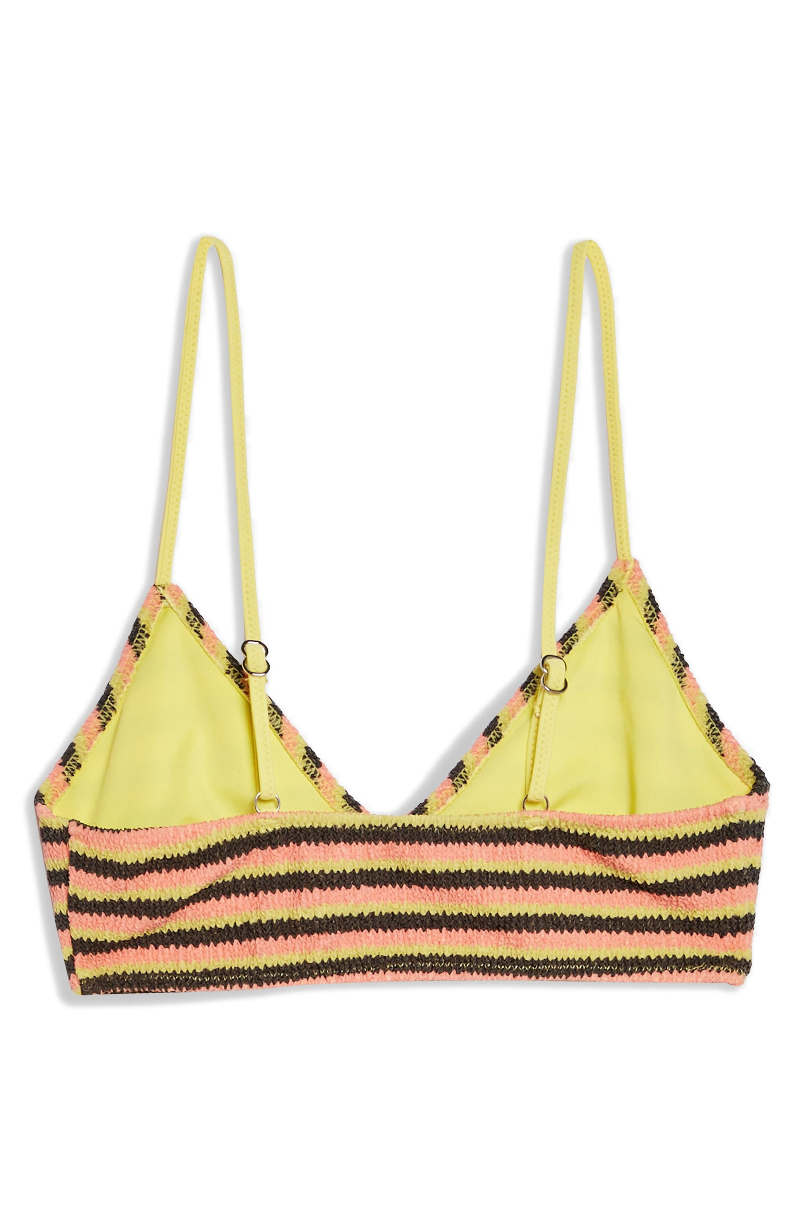 TOPSHOP, Textured Stripe Bikini Top, Alternate thumbnail 5, color, YELLOW MULTI