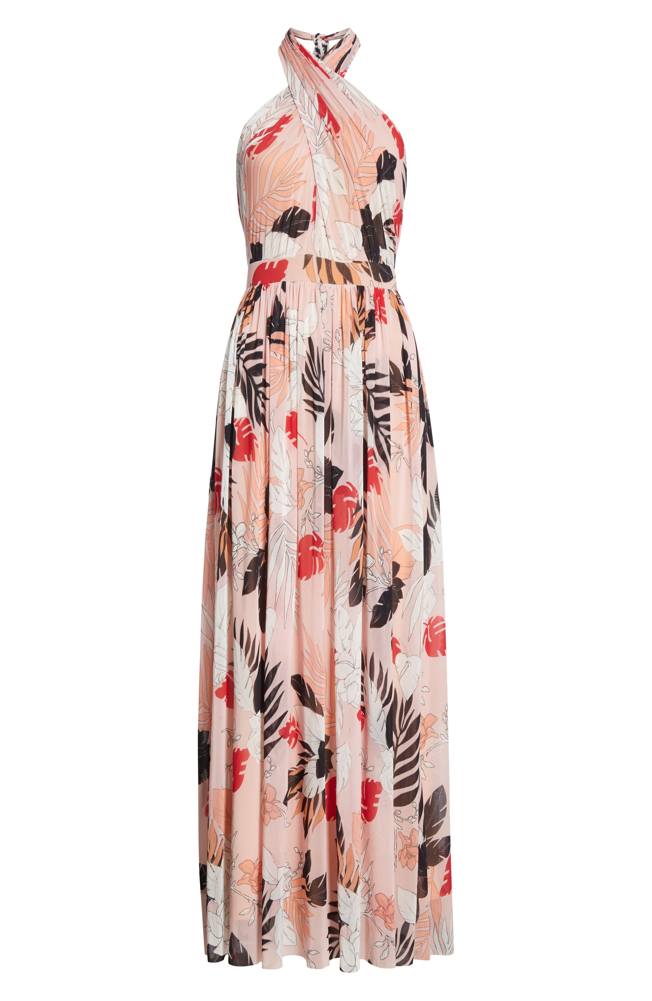FUZZI, Floral Tulle Cross Halter Maxi Dress, Alternate thumbnail 7, color, ALBA