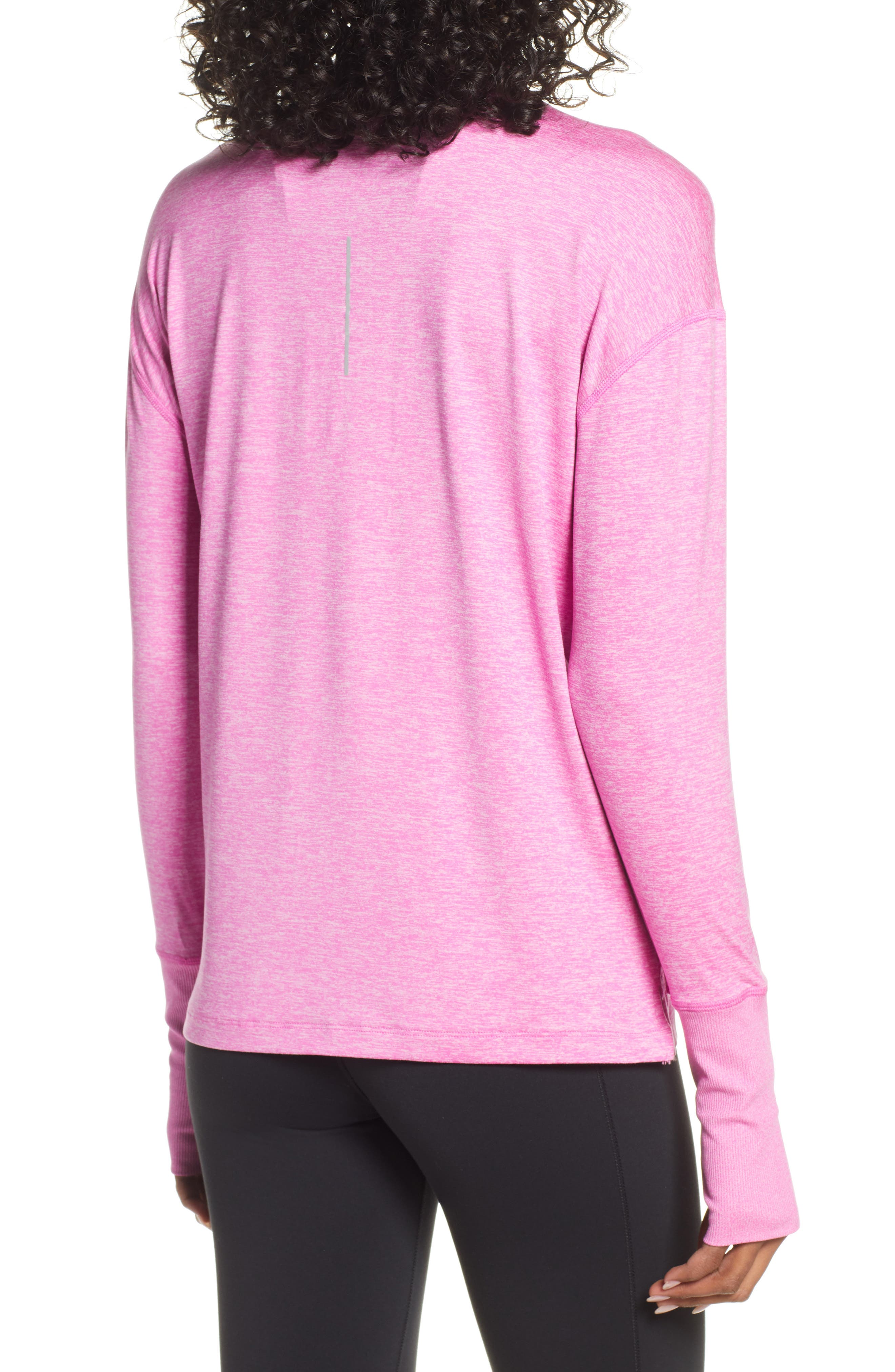 NIKE, Element Long-Sleeve Running Top, Alternate thumbnail 2, color, ACTIVE FUCHSIA/ PINK RISE