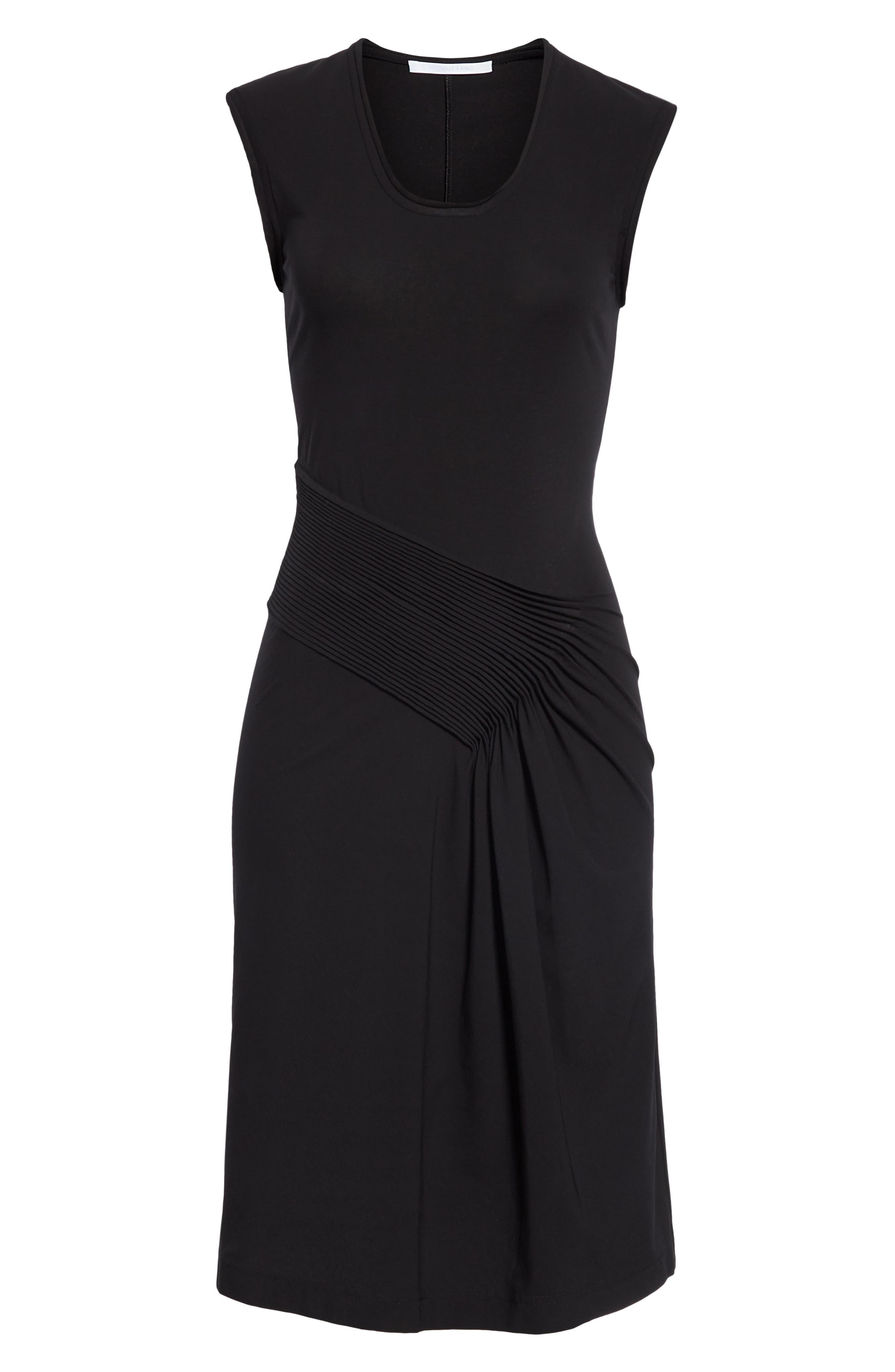HELMUT LANG, Pleated Jersey Dress, Alternate thumbnail 7, color, BLACK