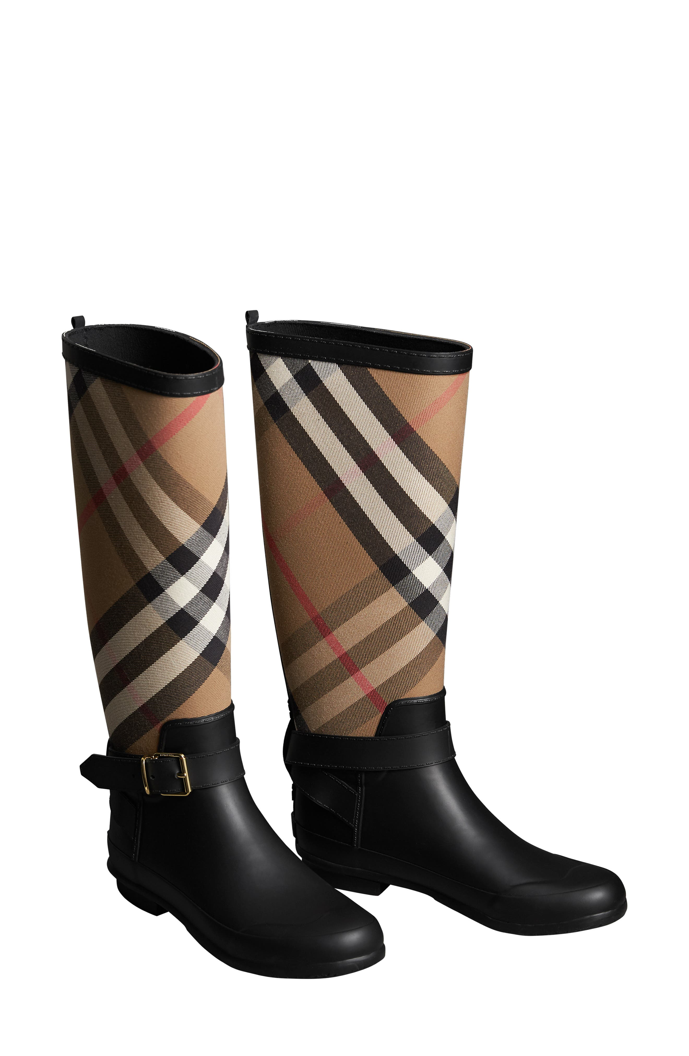 BURBERRY Check Rain Boot, Main, color, BLACK