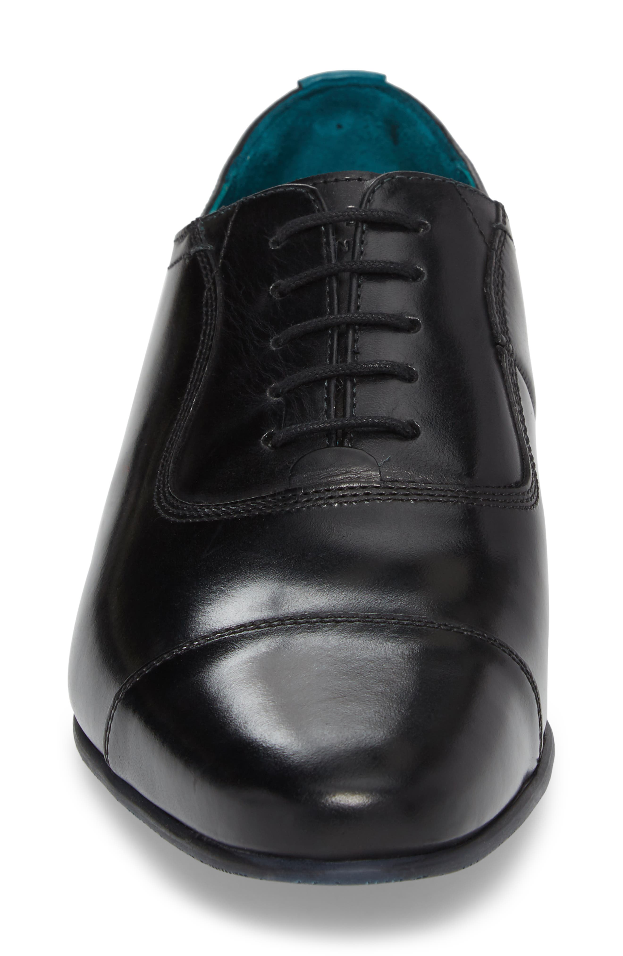 TED BAKER LONDON, Karney Cap Toe Oxford, Alternate thumbnail 4, color, BLACK LEATHER