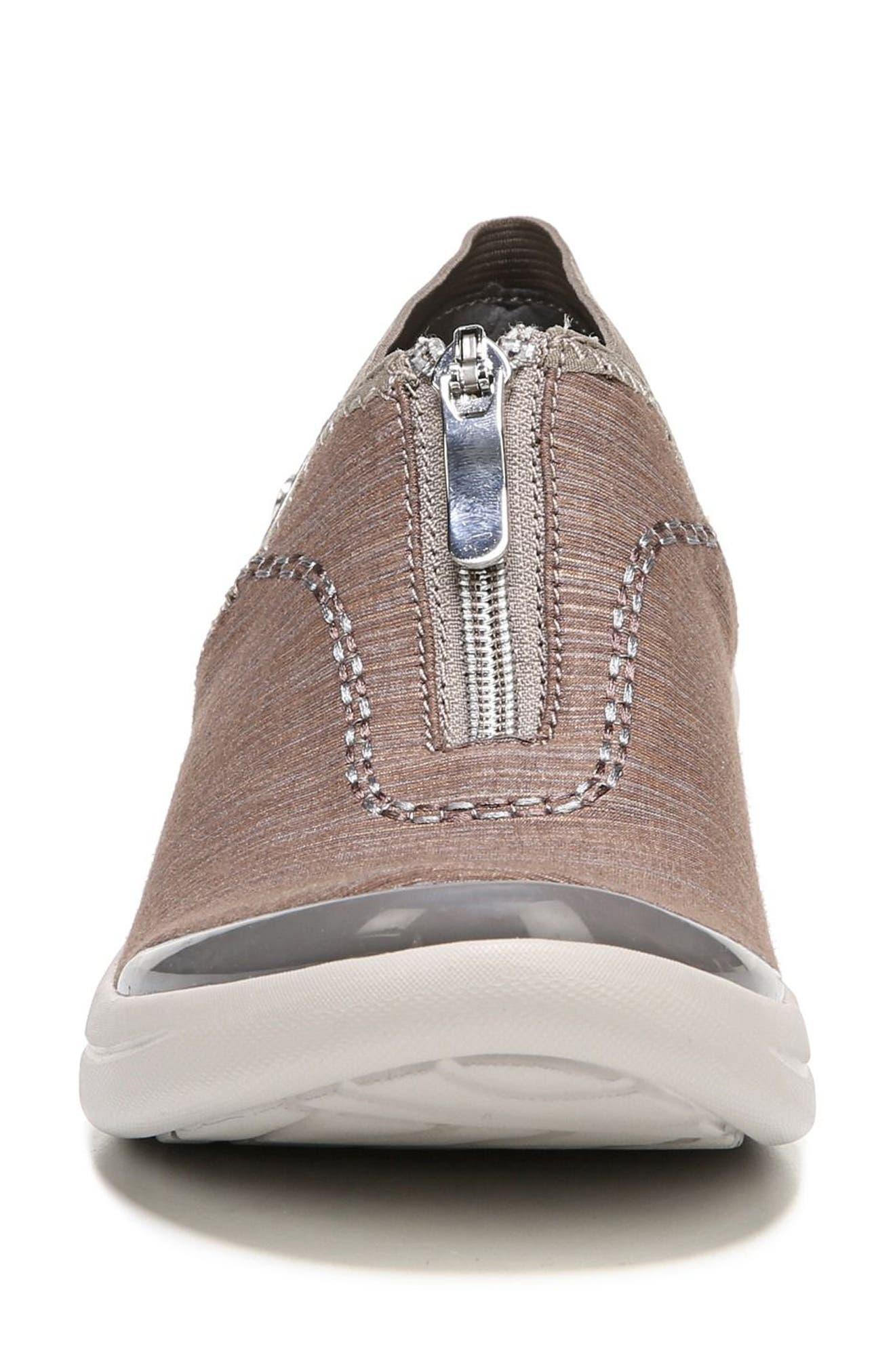 BZEES, Fling Wedge Sneaker, Alternate thumbnail 4, color, BROWN FABRIC