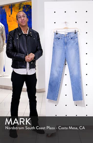 Le Sylvie High Waist Raw Hem Straight Leg Jeans, sales video thumbnail