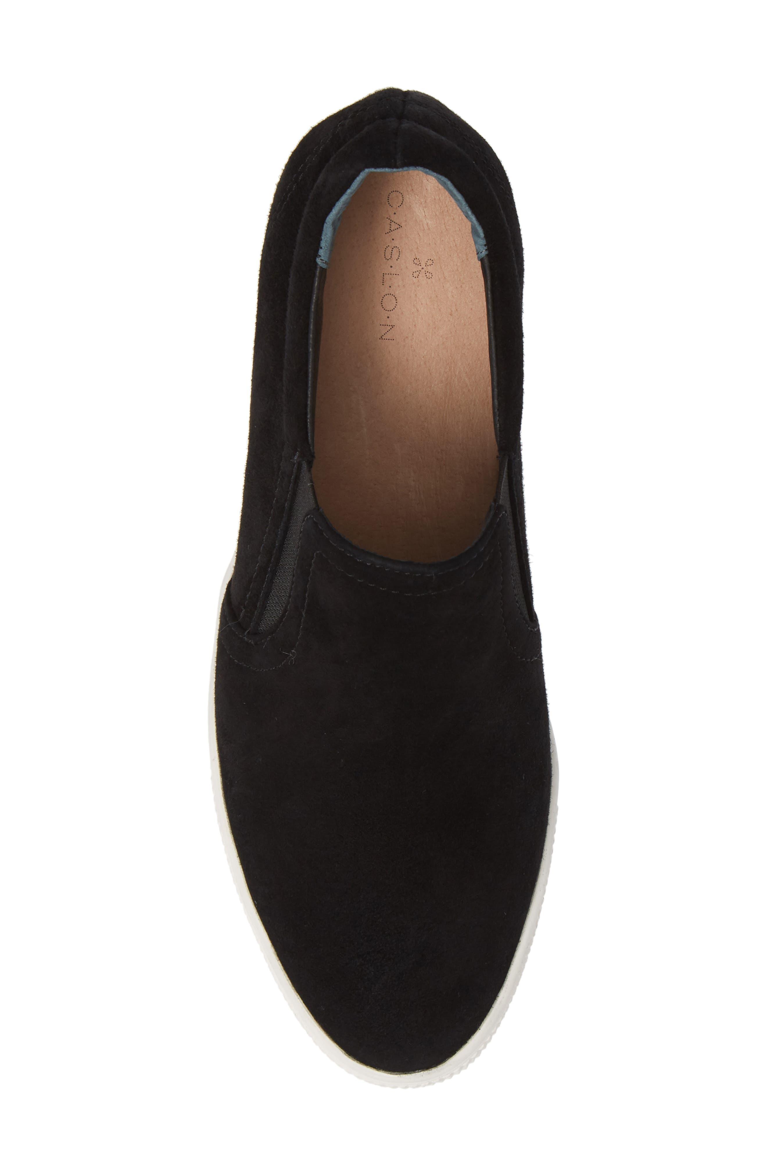 CASLON<SUP>®</SUP>, Austin Slip-On Sneaker, Alternate thumbnail 5, color, BLACK SUEDE