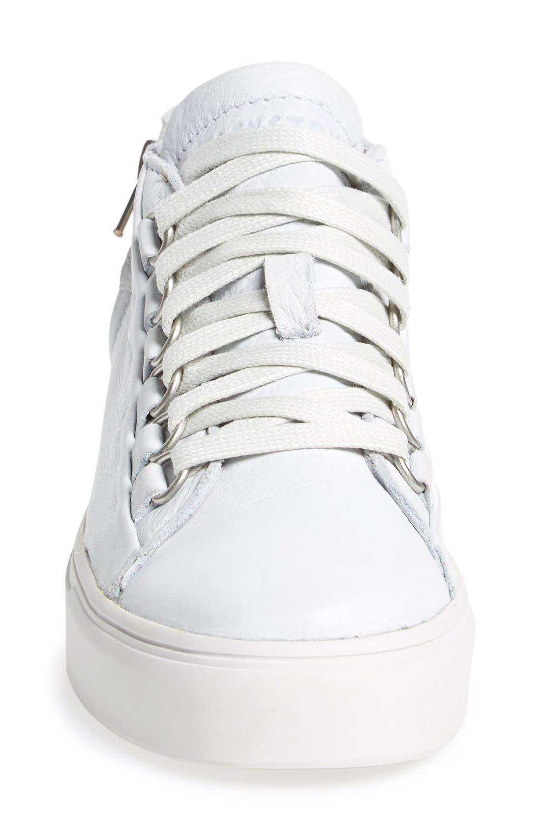 BLACKSTONE, 'LL60' Midi Sneaker, Alternate thumbnail 2, color, WHITE LEATHER