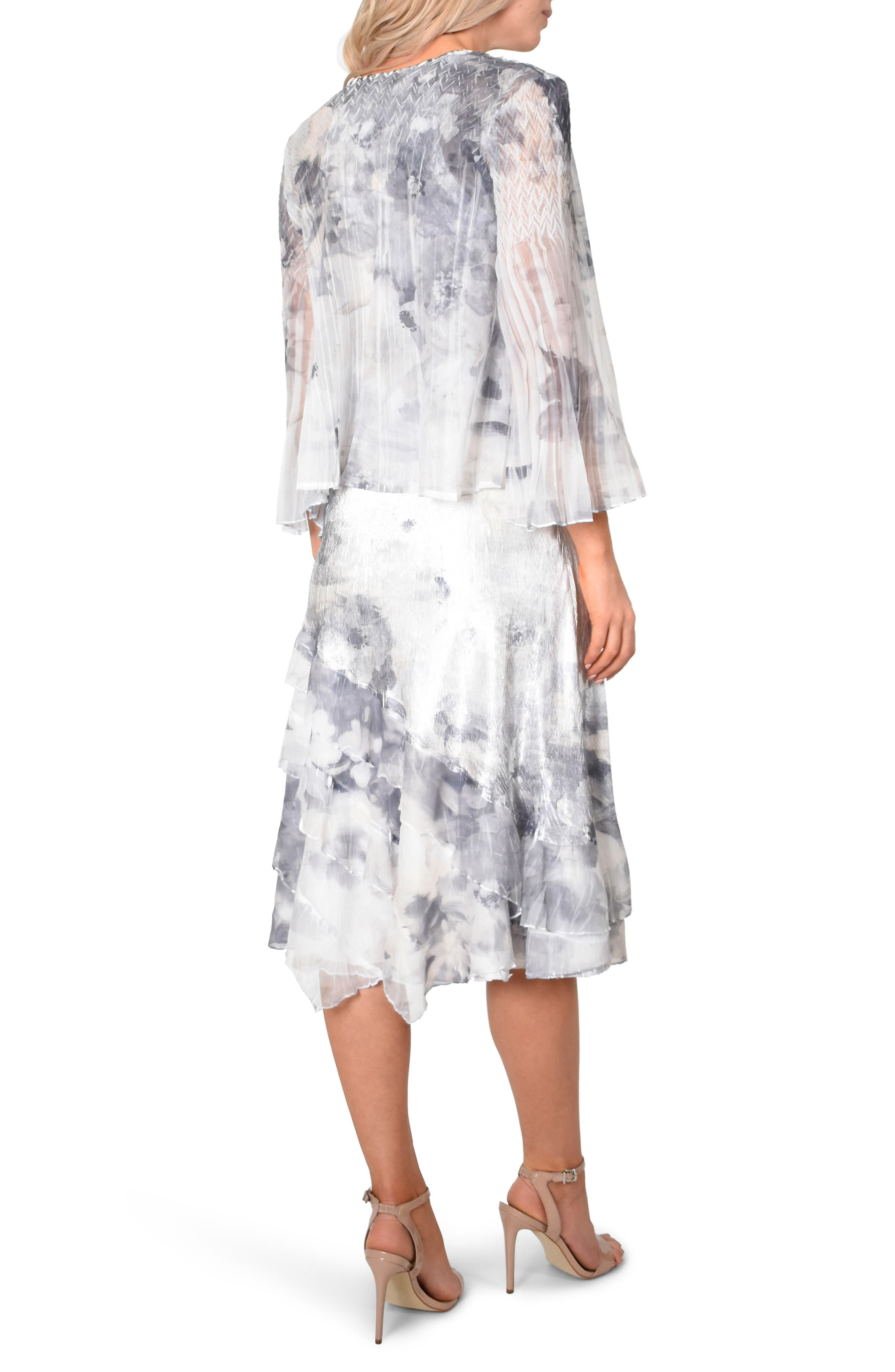 KOMAROV, Floral Charmeuse & Chiffon Dress with Jacket, Alternate thumbnail 5, color, FROSTED PETAL