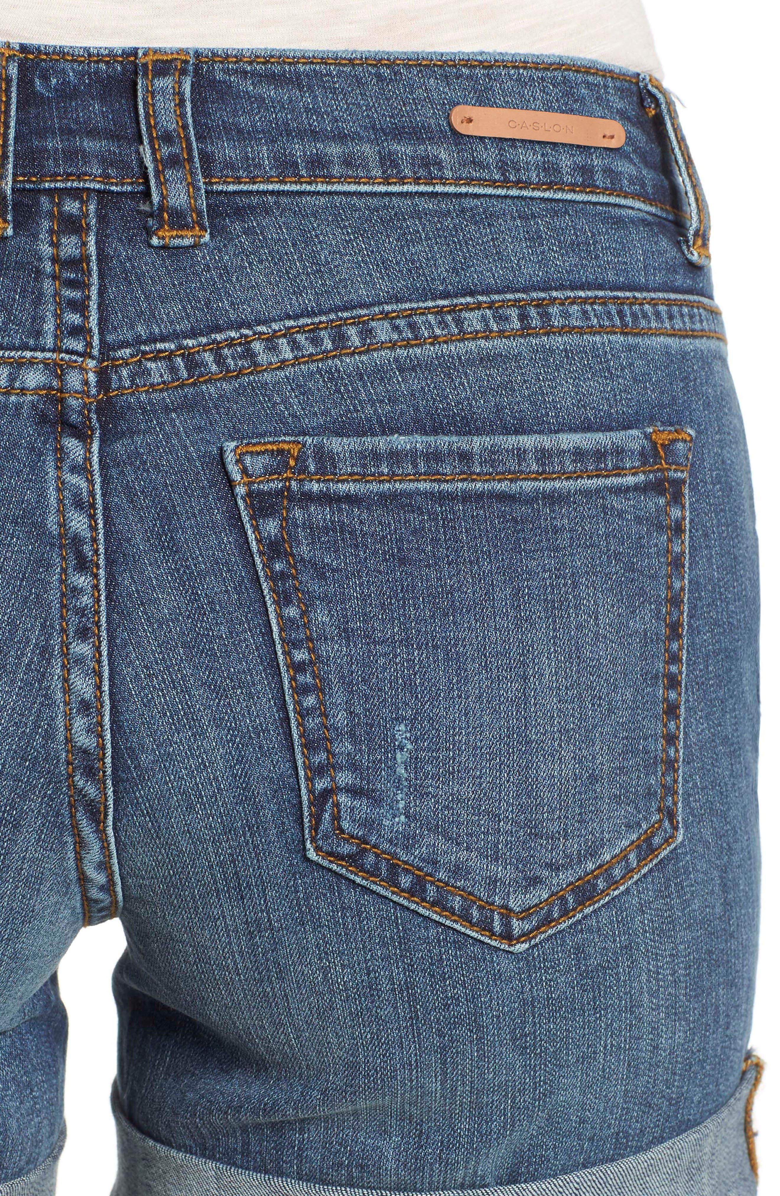 CASLON<SUP>®</SUP>, Rolled Denim Boyfriend Shorts, Alternate thumbnail 5, color, 401