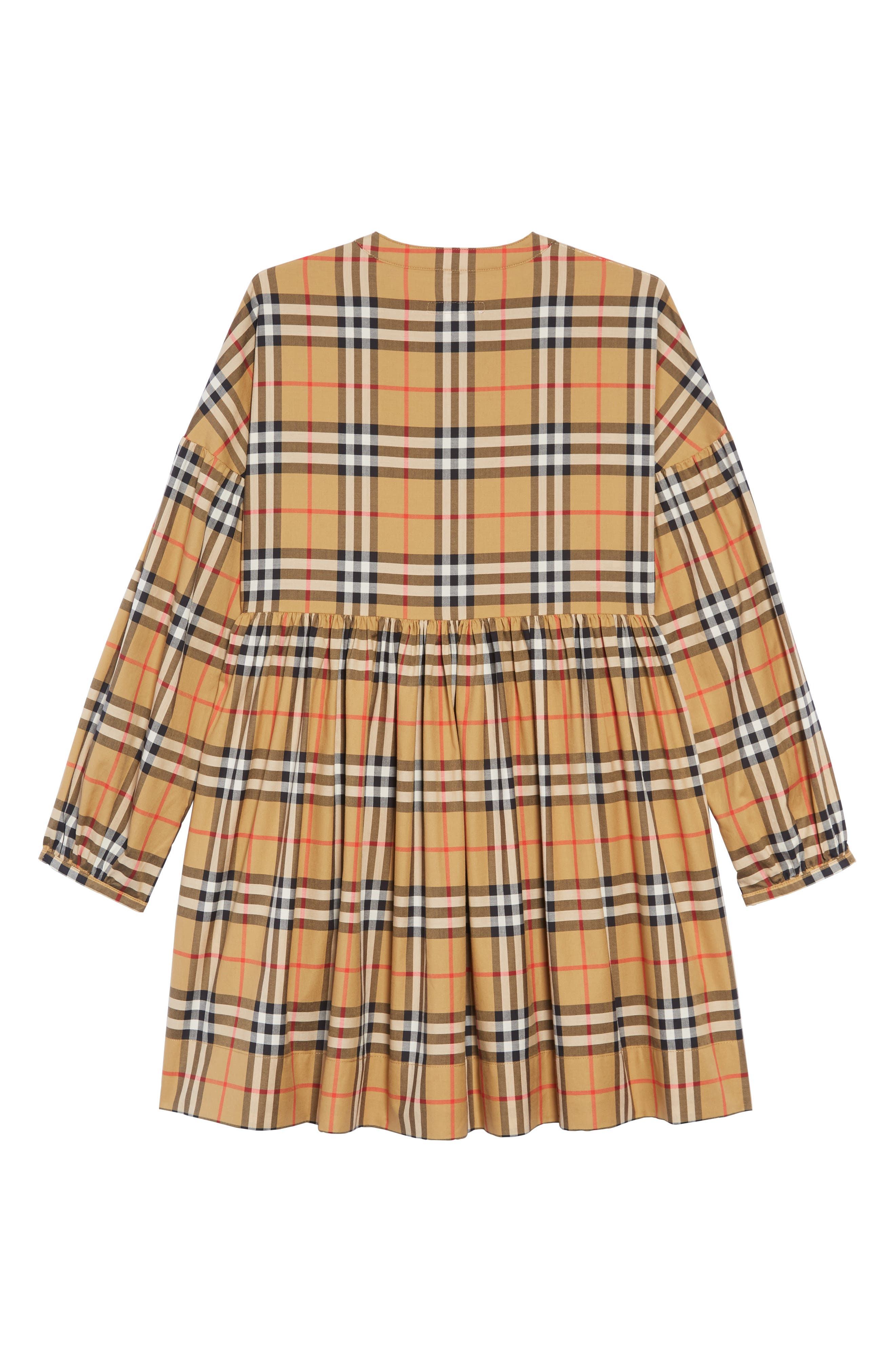 BURBERRY, Marny Dress, Alternate thumbnail 2, color, ANTIQUE YELLW IP CHK