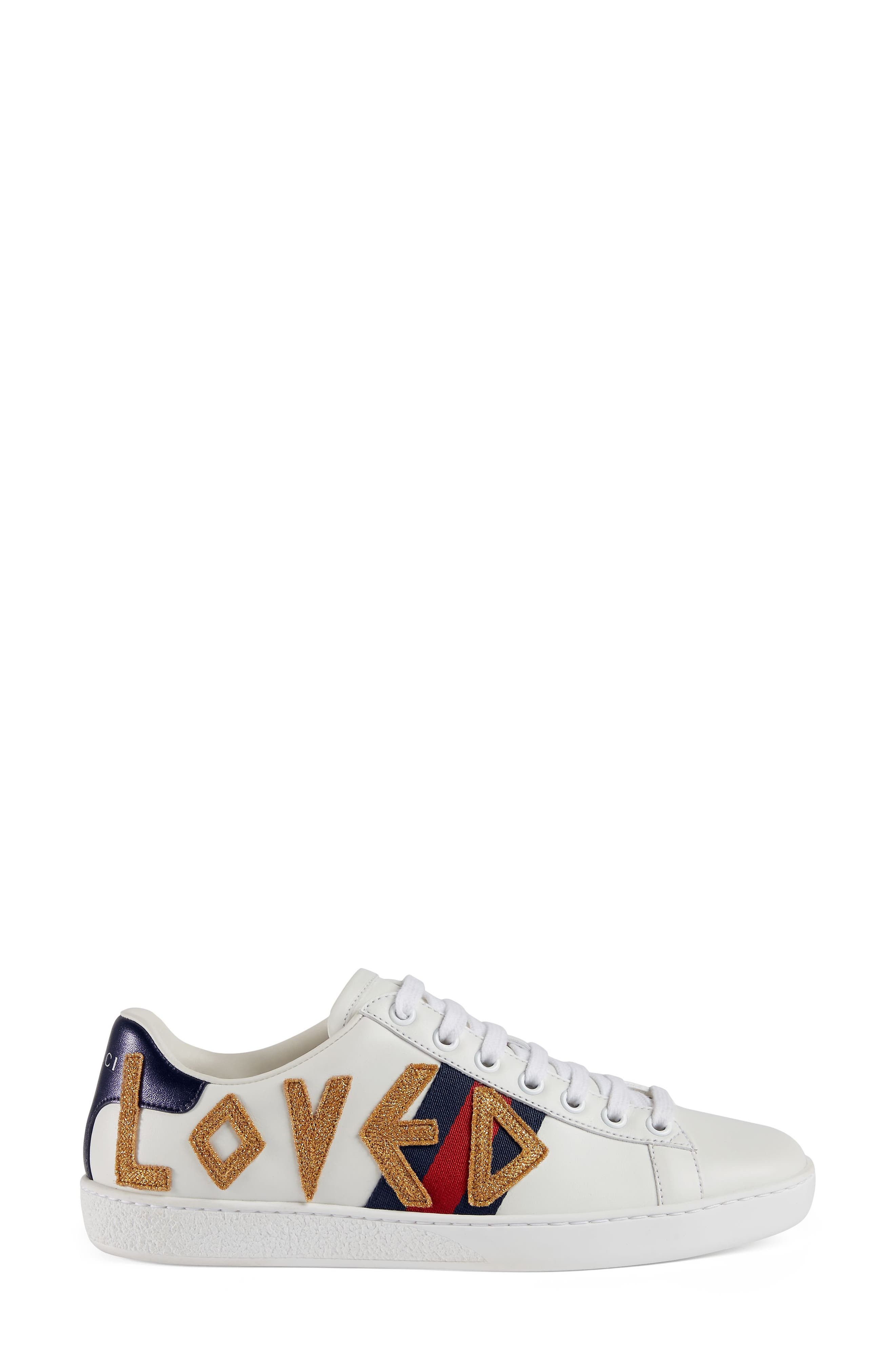 GUCCI, New Ace Loved Sneakers, Alternate thumbnail 3, color, WHITE