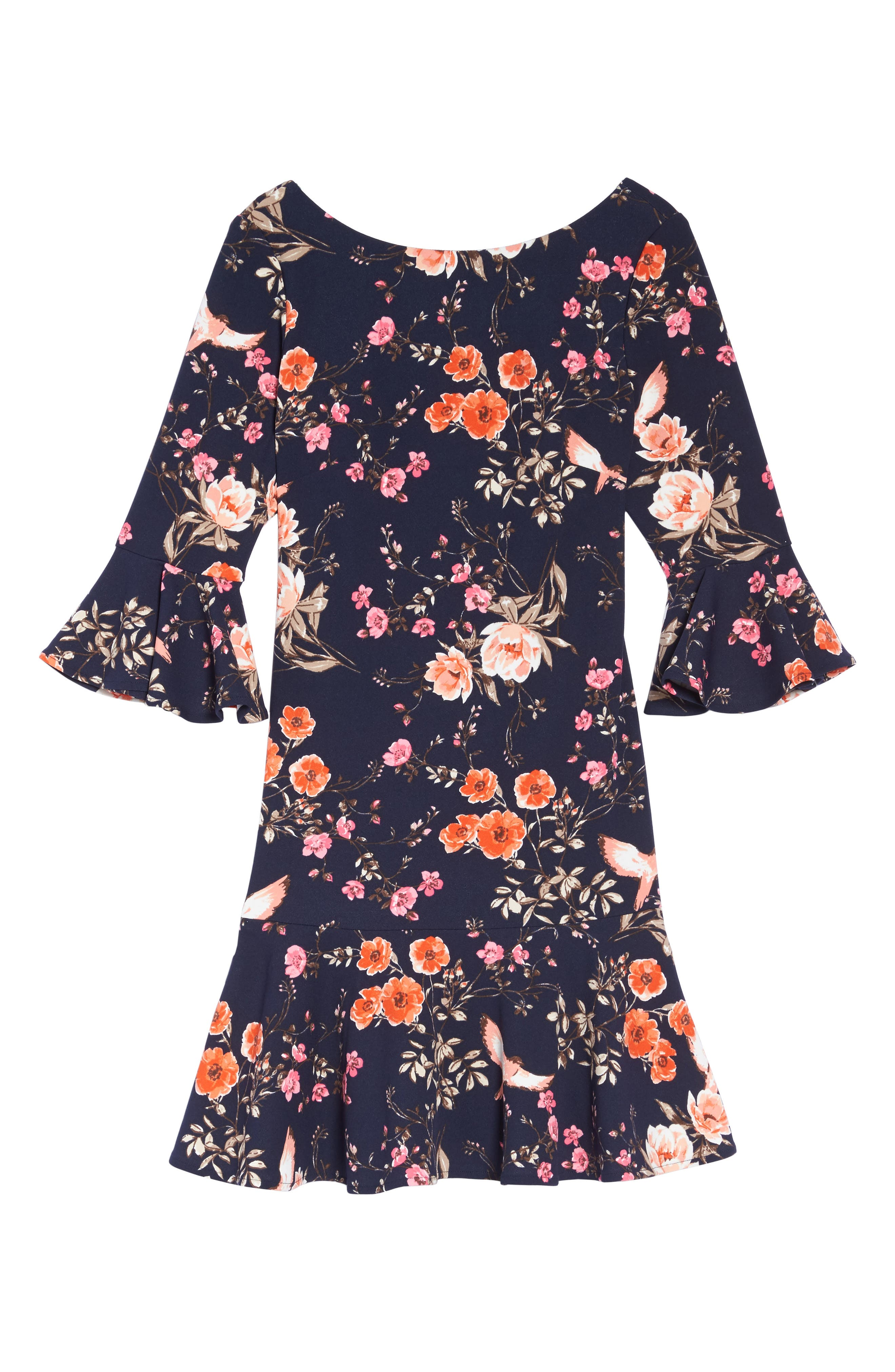 ELIZA J, Bell Sleeve Flounce Dress, Alternate thumbnail 6, color, NAVY