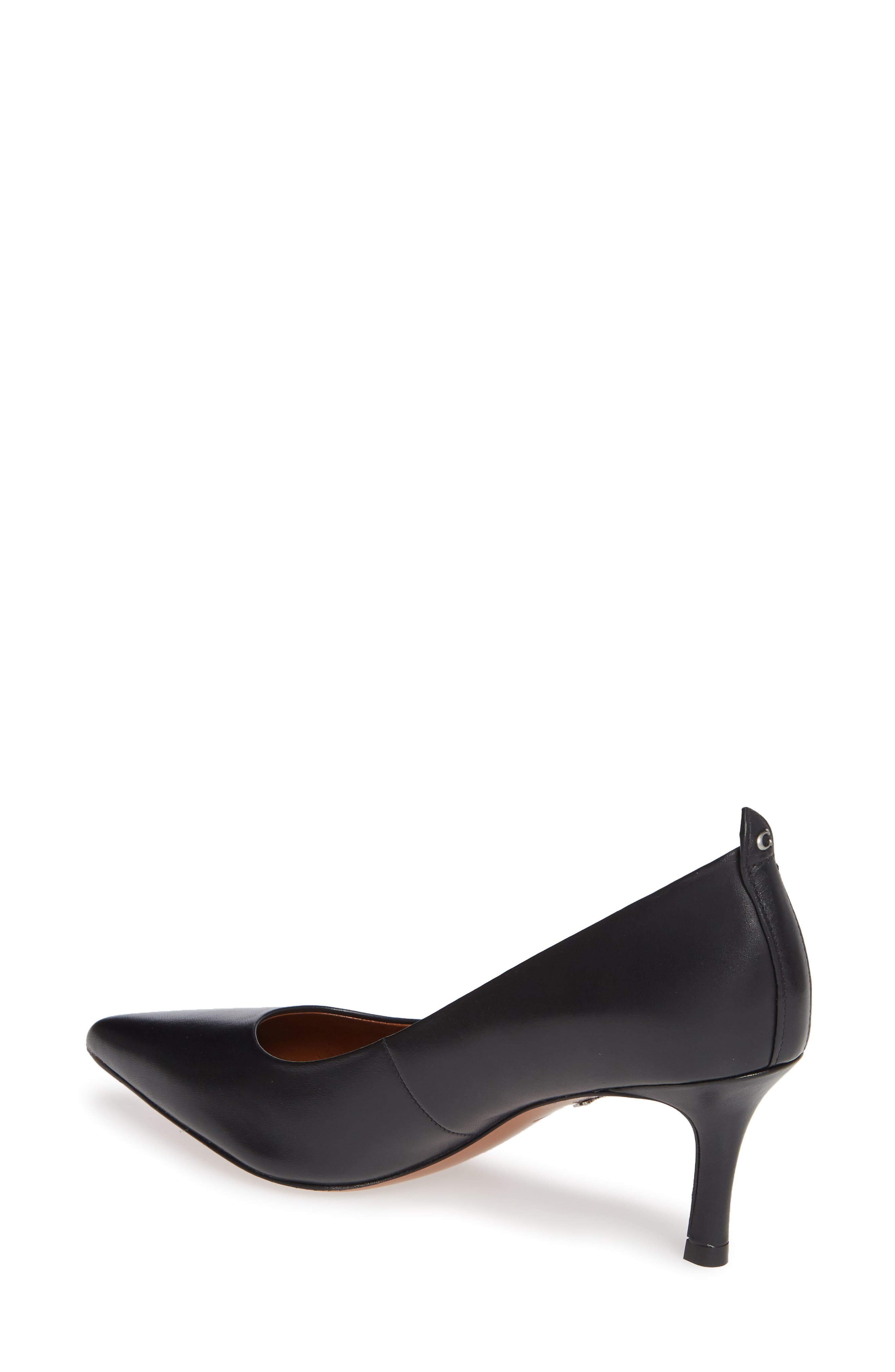 COACH, Waverly Mid Heel Pump, Alternate thumbnail 2, color, BLACK LEATHER