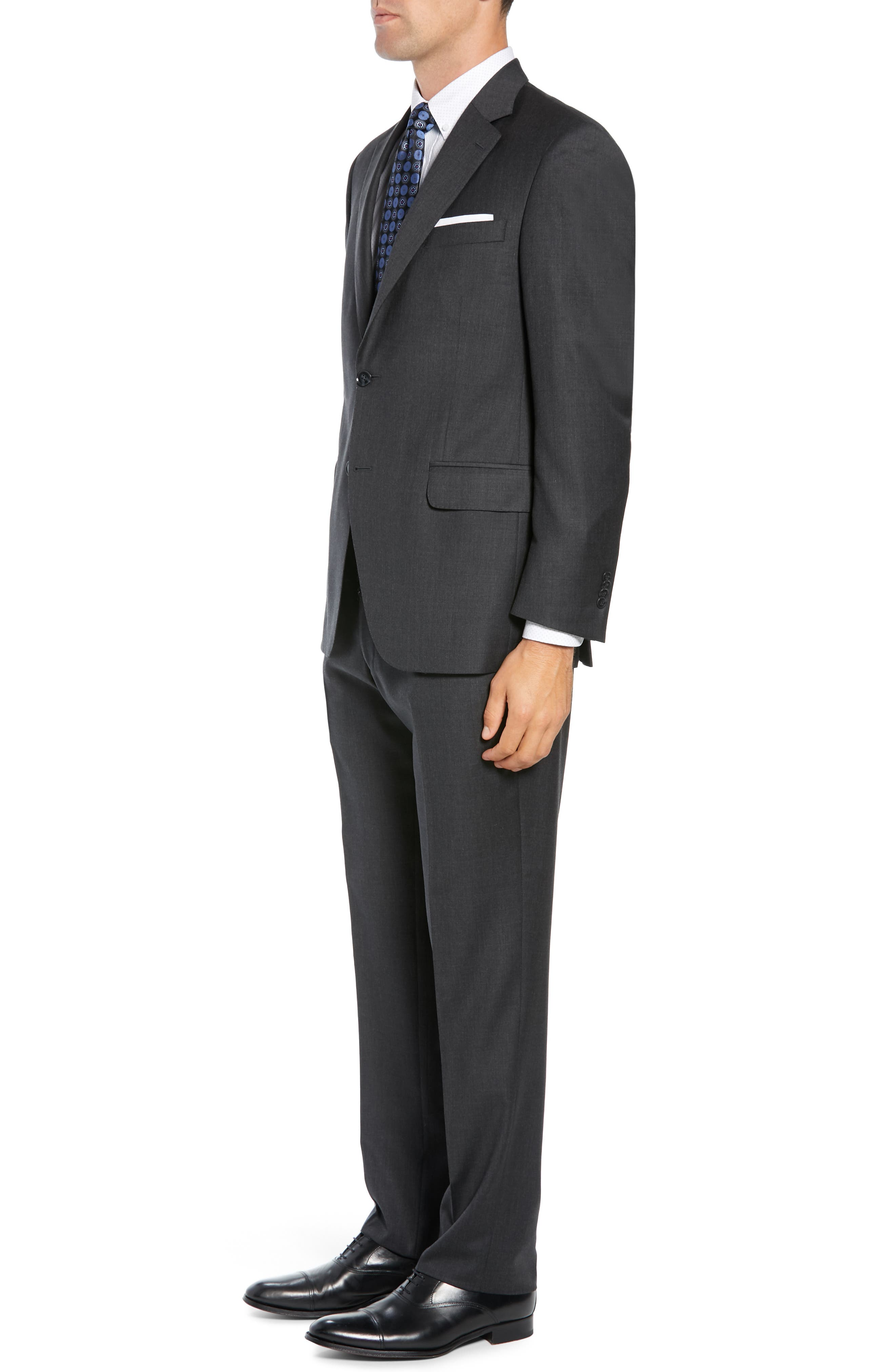 PETER MILLAR, Classic Fit Wool Suit, Alternate thumbnail 3, color, CHARCOAL