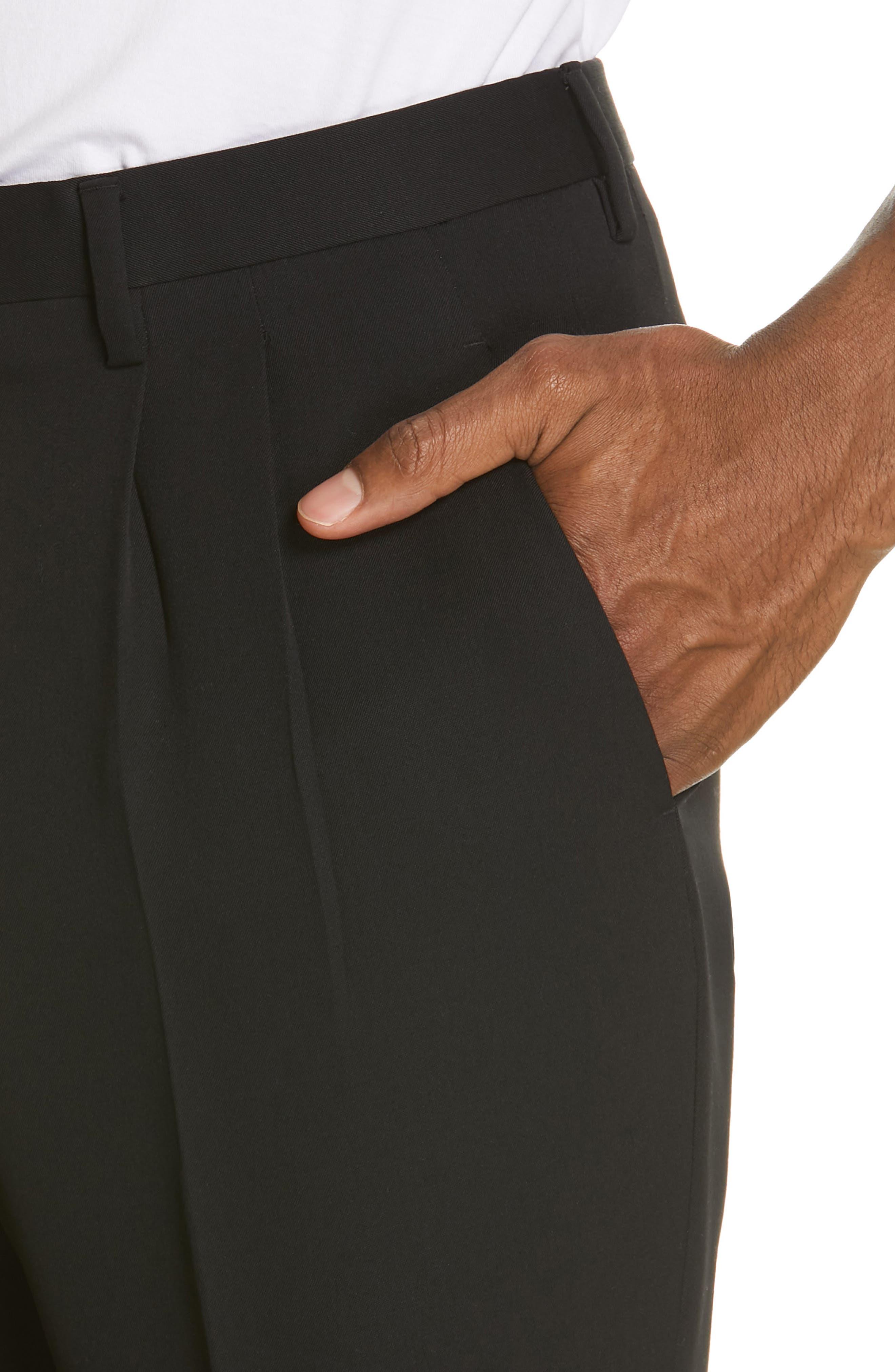 CALVIN KLEIN 205W39NYC, Pleated Gabardine Wool Trousers, Alternate thumbnail 4, color, BLACK