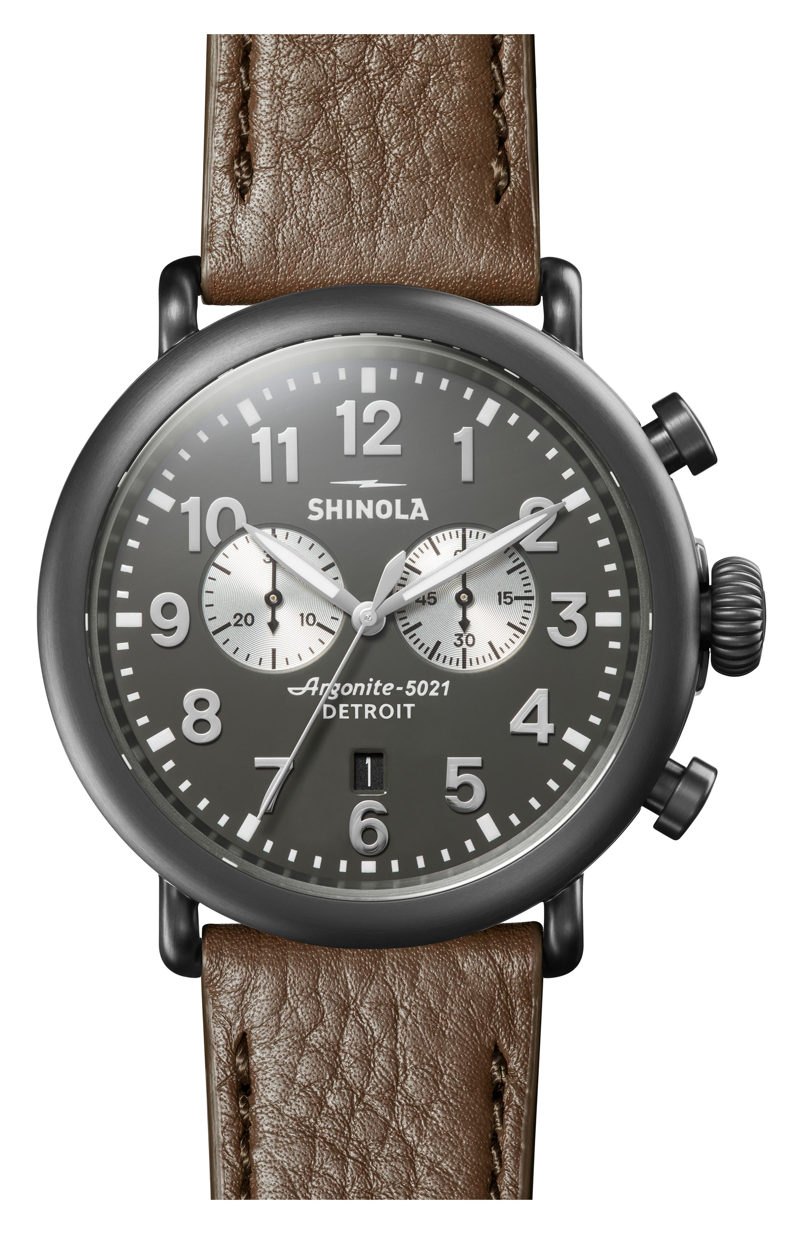 SHINOLA The Runwell Chrono Leather Strap Watch, 47mm, Main, color, WALNUT/ GUNMETAL