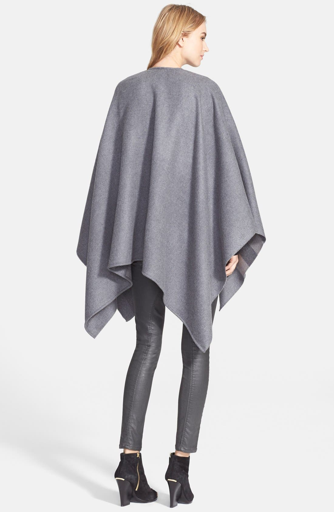 BURBERRY, Reversible Merino Wool Cape, Alternate thumbnail 2, color, 020