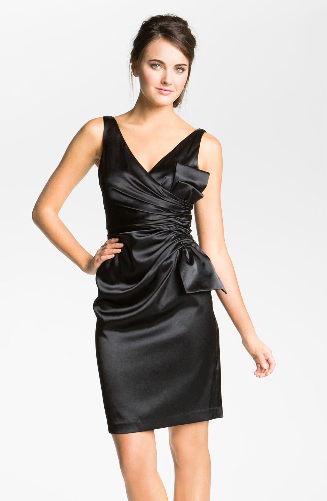 MAGGY LONDON, Side Bow Stretch Satin Sheath Dress, Main thumbnail 1, color, 001
