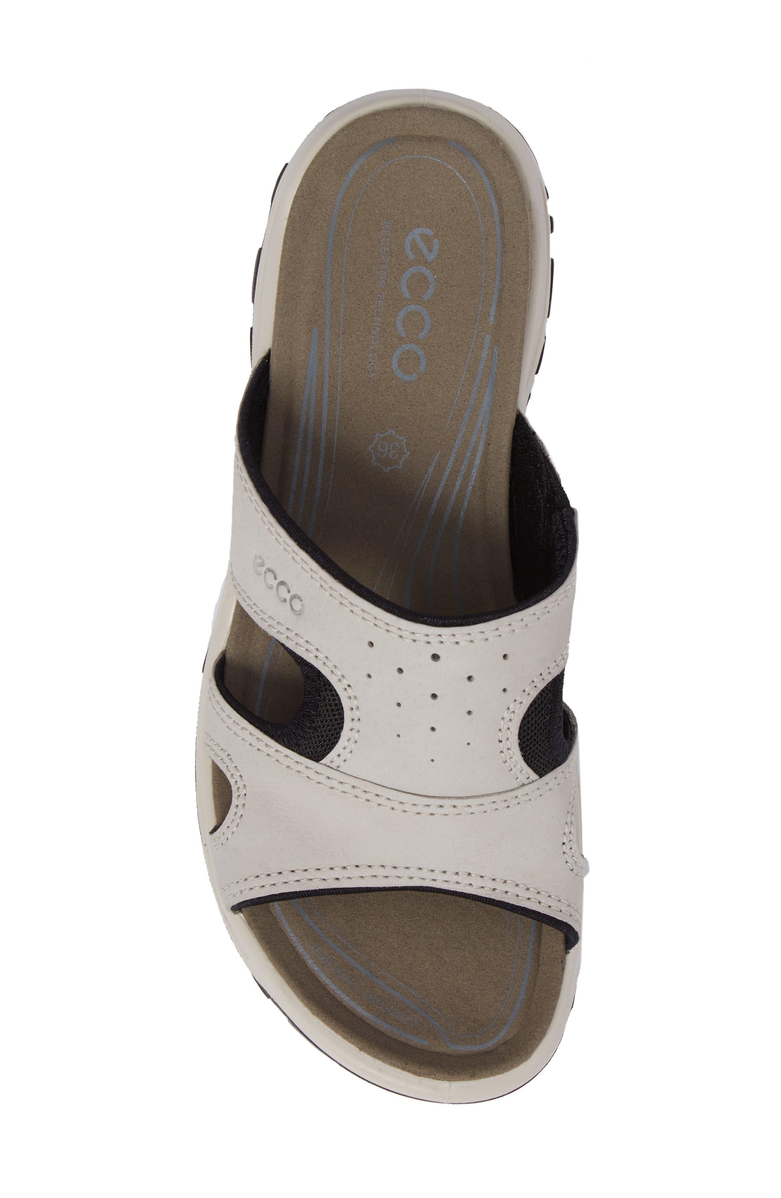 ECCO, Offroad Lite Slide Sandal, Alternate thumbnail 5, color, GRAVEL/ BLACK LEATHER
