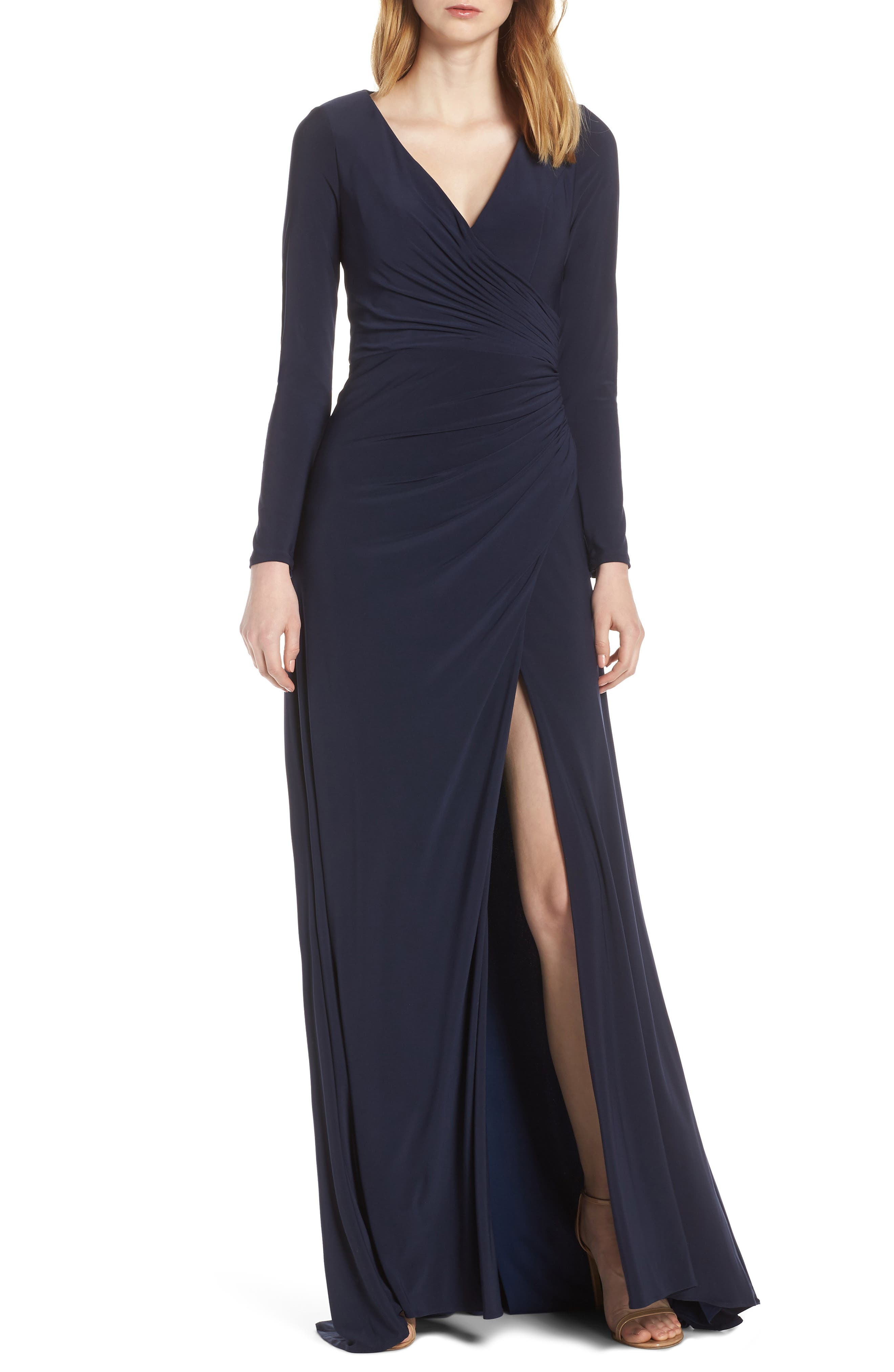 Ieena For MAC Duggal Long Sleeve Front Slit Jersey Gown, Blue
