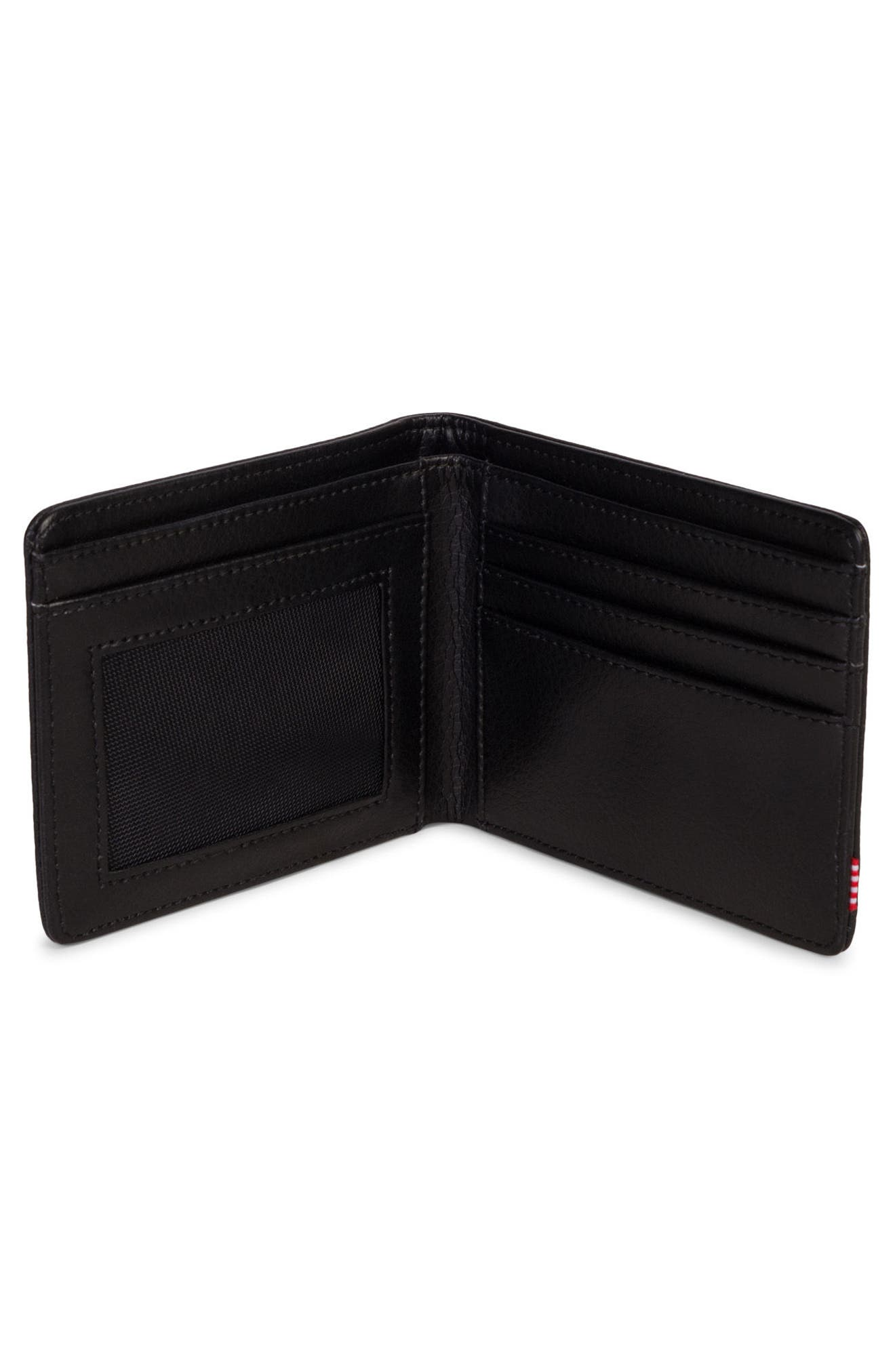 HERSCHEL SUPPLY CO., Hank Leather Wallet, Alternate thumbnail 2, color, BLACK PEBBLED LEATHER