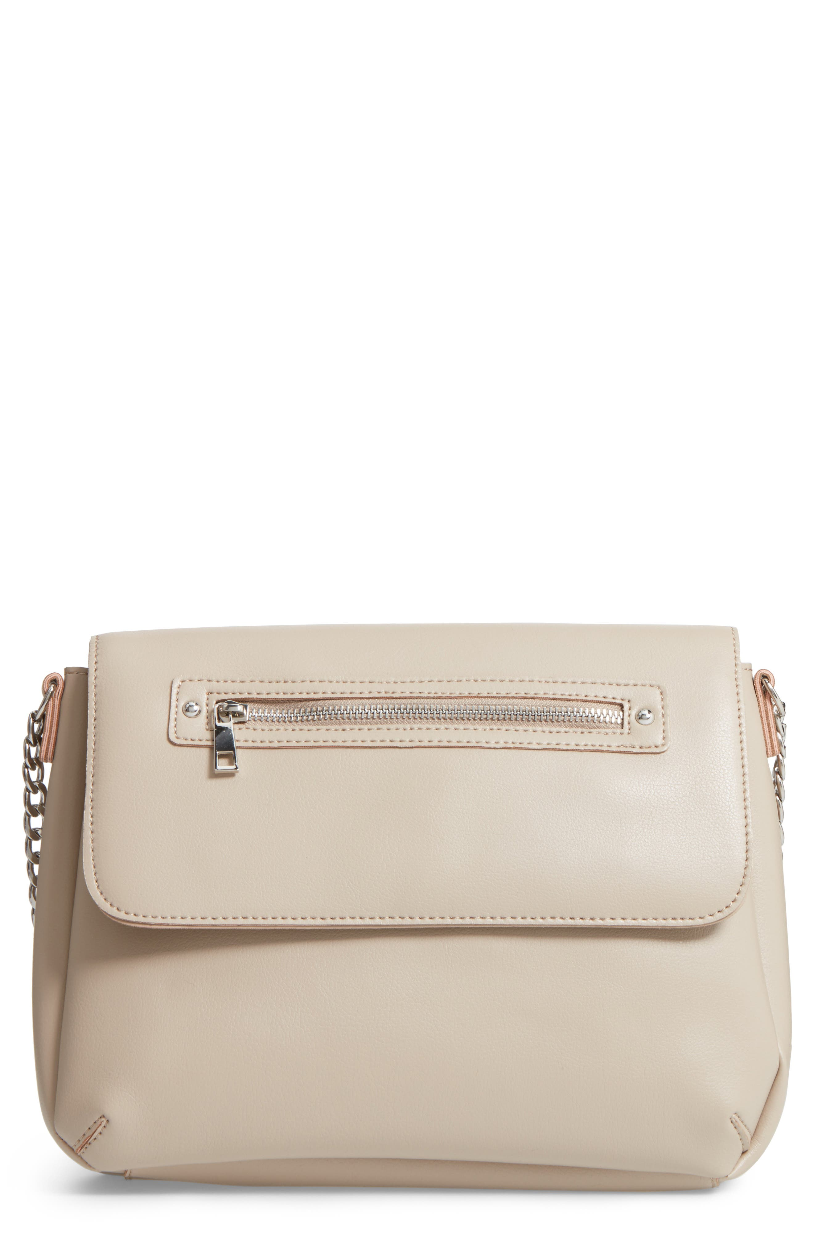 BP. Faux Leather Flap Crossbody Bag, Main, color, 020