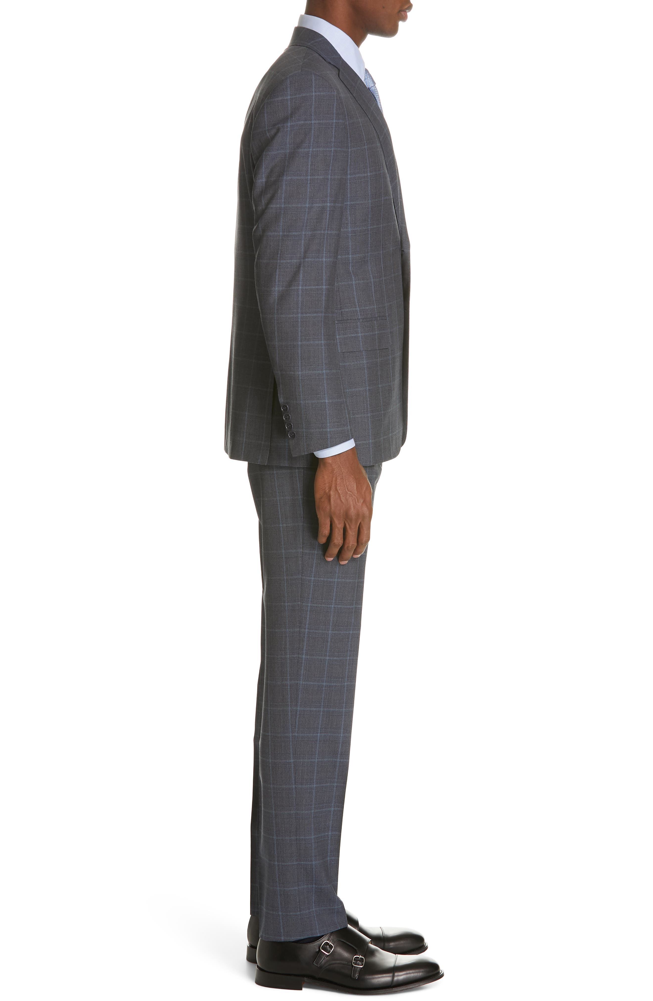 CANALI, Siena Soft Classic Fit Plaid Wool Suit, Alternate thumbnail 3, color, CHARCOAL