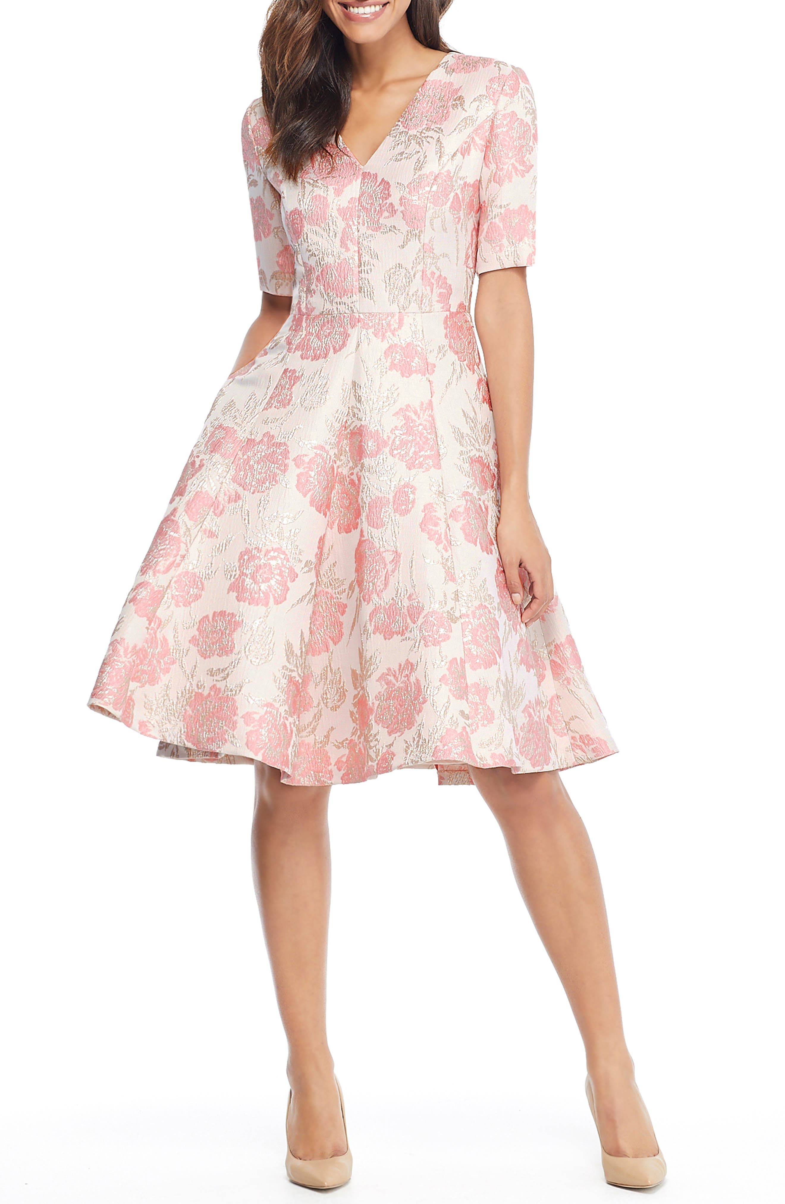 GAL MEETS GLAM COLLECTION, Adair Pink Passion Rose Jacquard Fit & Flare Dress, Alternate thumbnail 6, color, 685