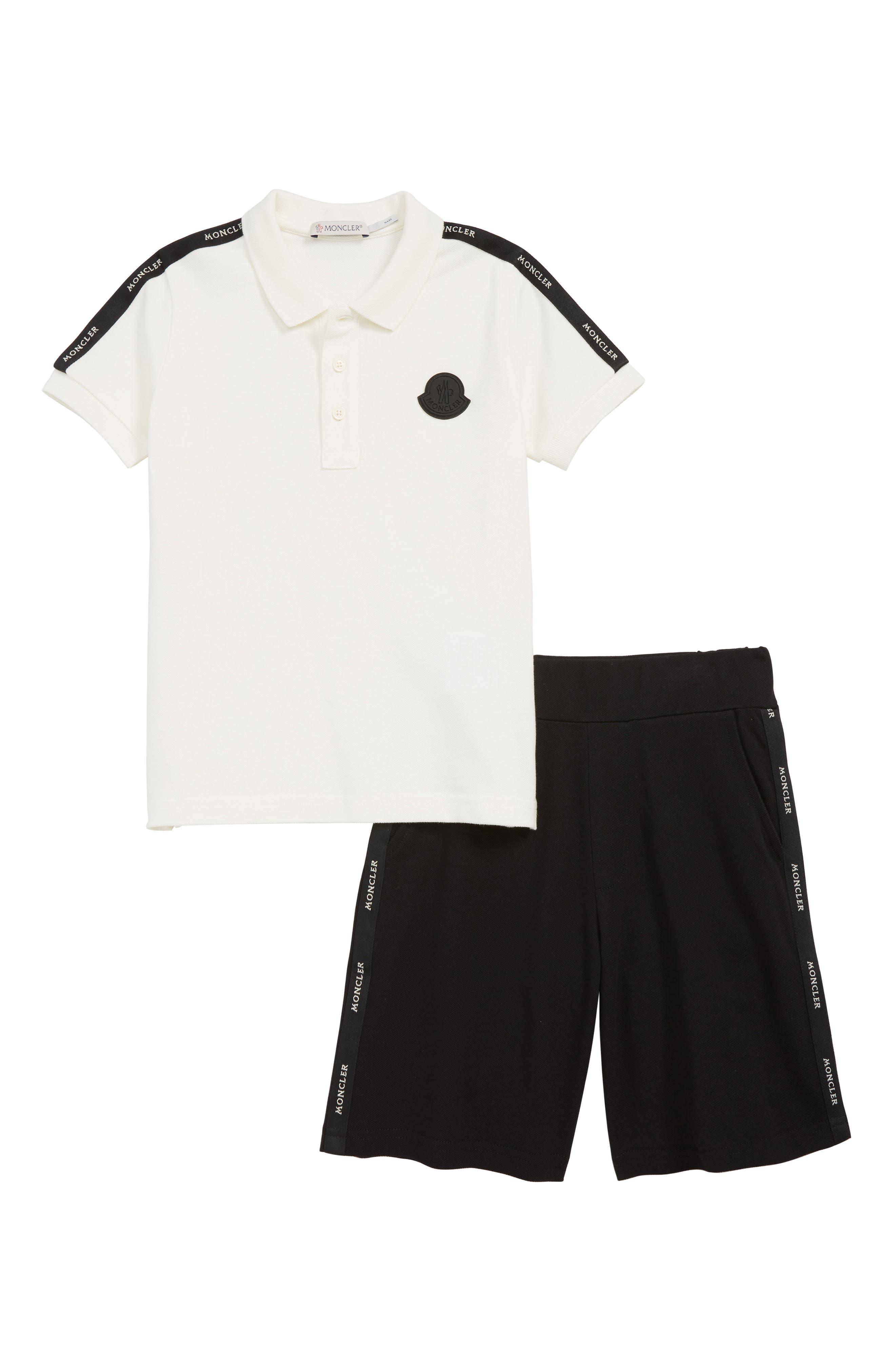MONCLER, Polo & Shorts Set, Main thumbnail 1, color, NATURAL