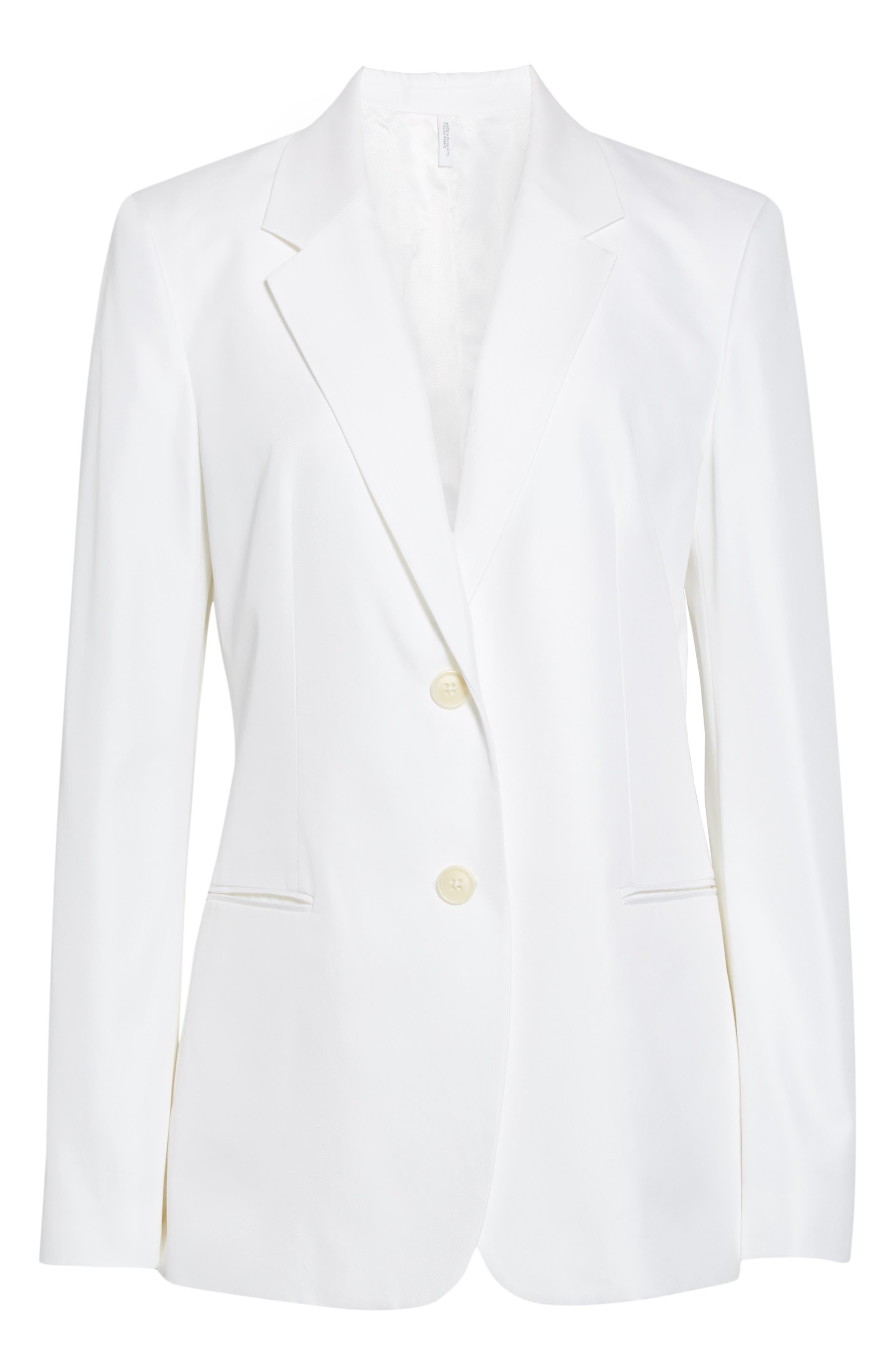 HELMUT LANG, Cotton Blend Blazer, Alternate thumbnail 6, color, WHITE