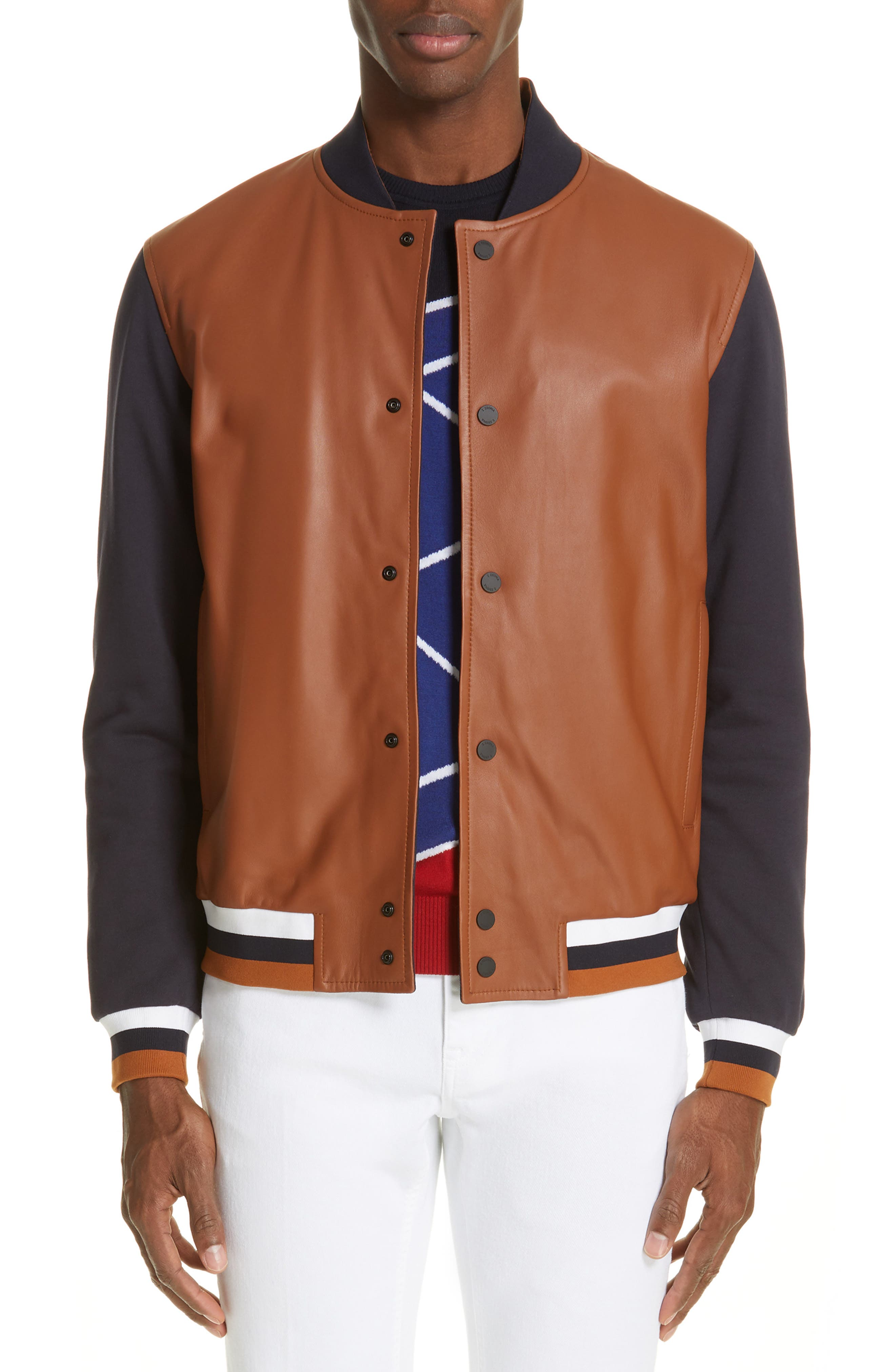 Z ZEGNA, Contrast Leather Bomber Jacket, Main thumbnail 1, color, NAVY/ BROWN