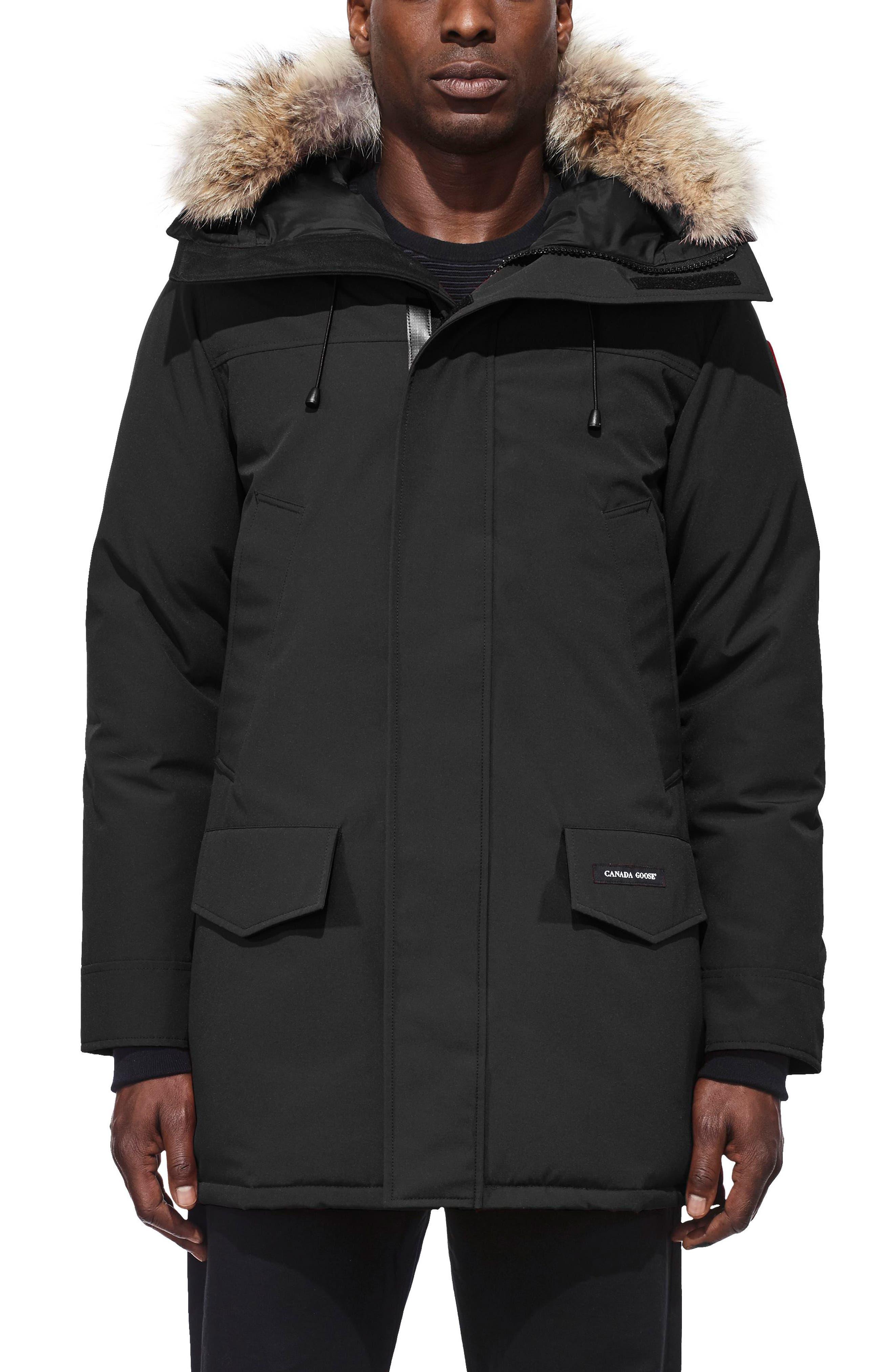 CANADA GOOSE, Langford Slim Fit Down Parka with Genuine Coyote Fur Trim, Main thumbnail 1, color, BLACK