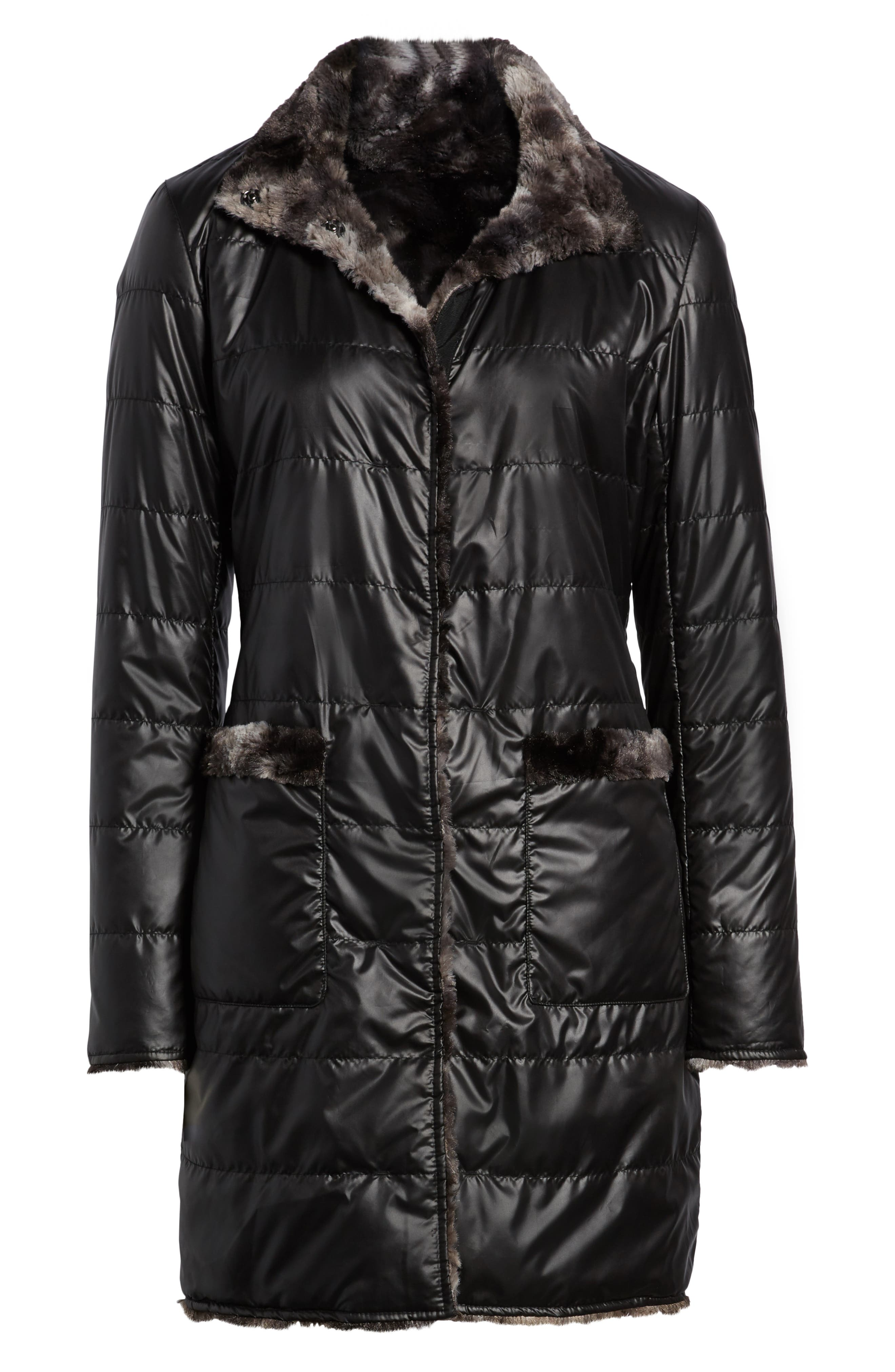 VIA SPIGA, Reversible Faux Marled Fur Coat, Alternate thumbnail 7, color, MARLED