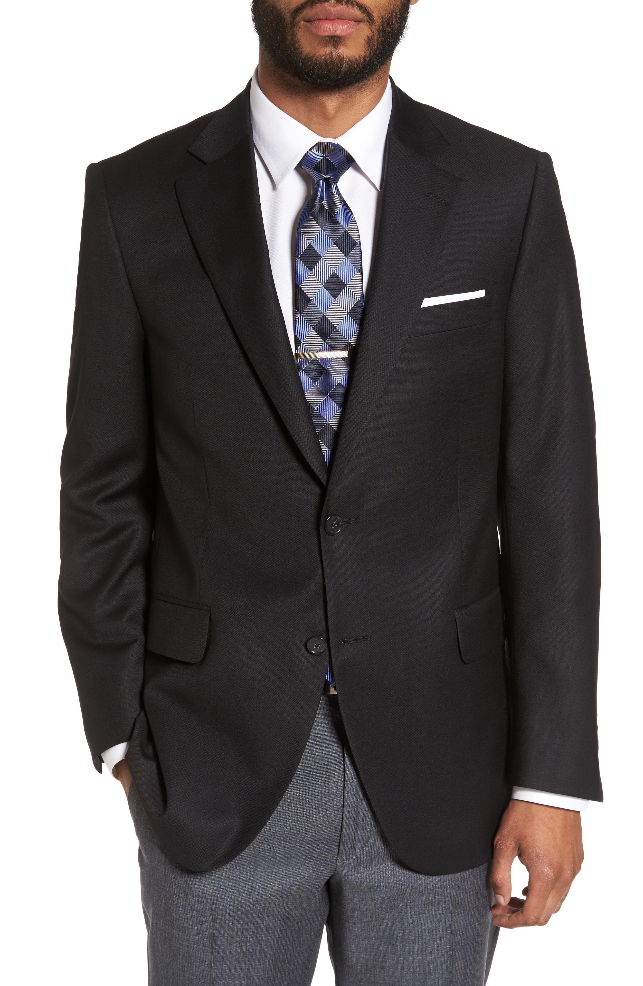 PETER MILLAR Flynn Classic Fit Wool Blazer, Main, color, BLACK