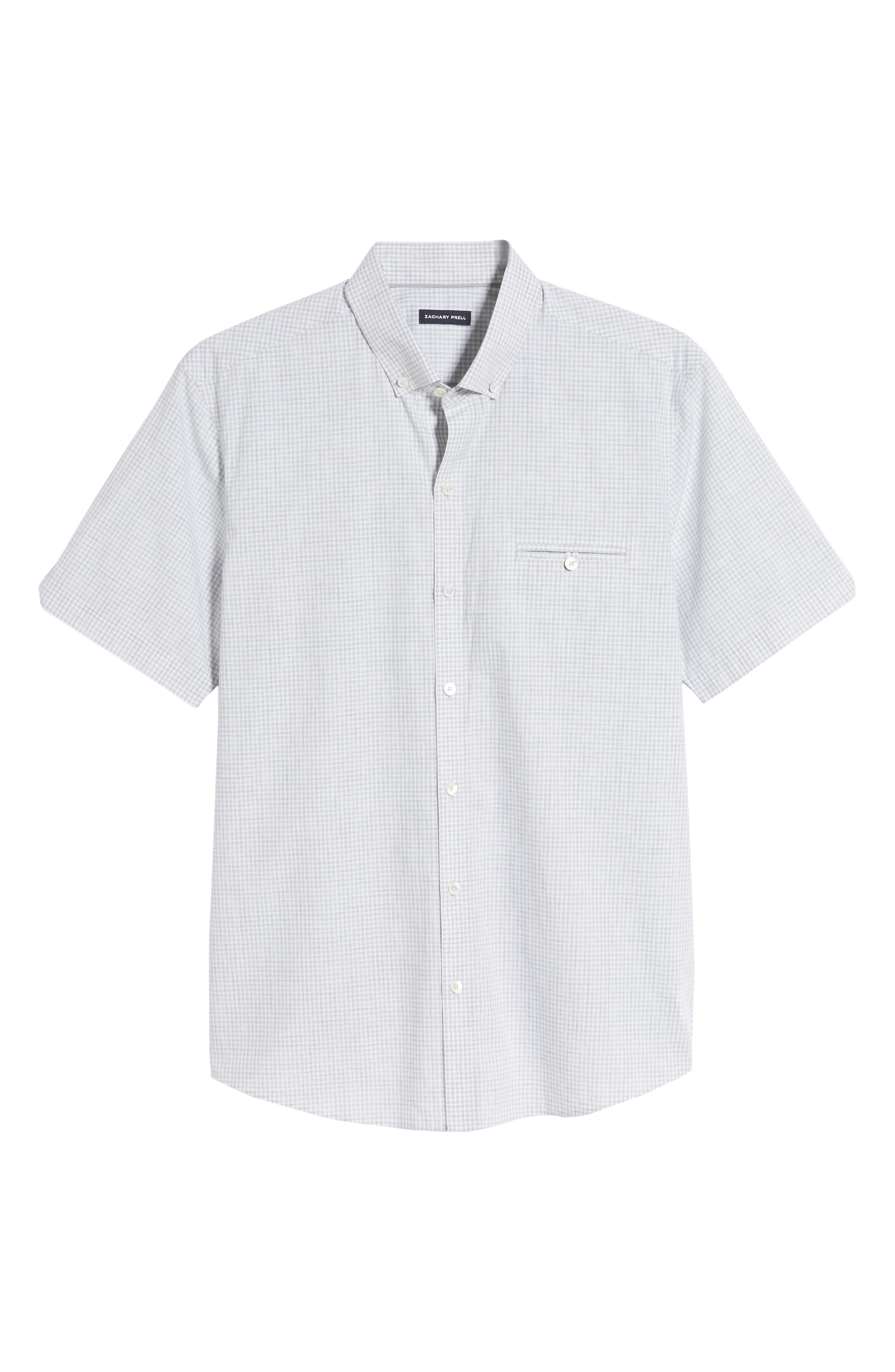 ZACHARY PRELL, Cechini Regular Fit Short Sleeve Sport Shirt, Alternate thumbnail 5, color, LT GREY