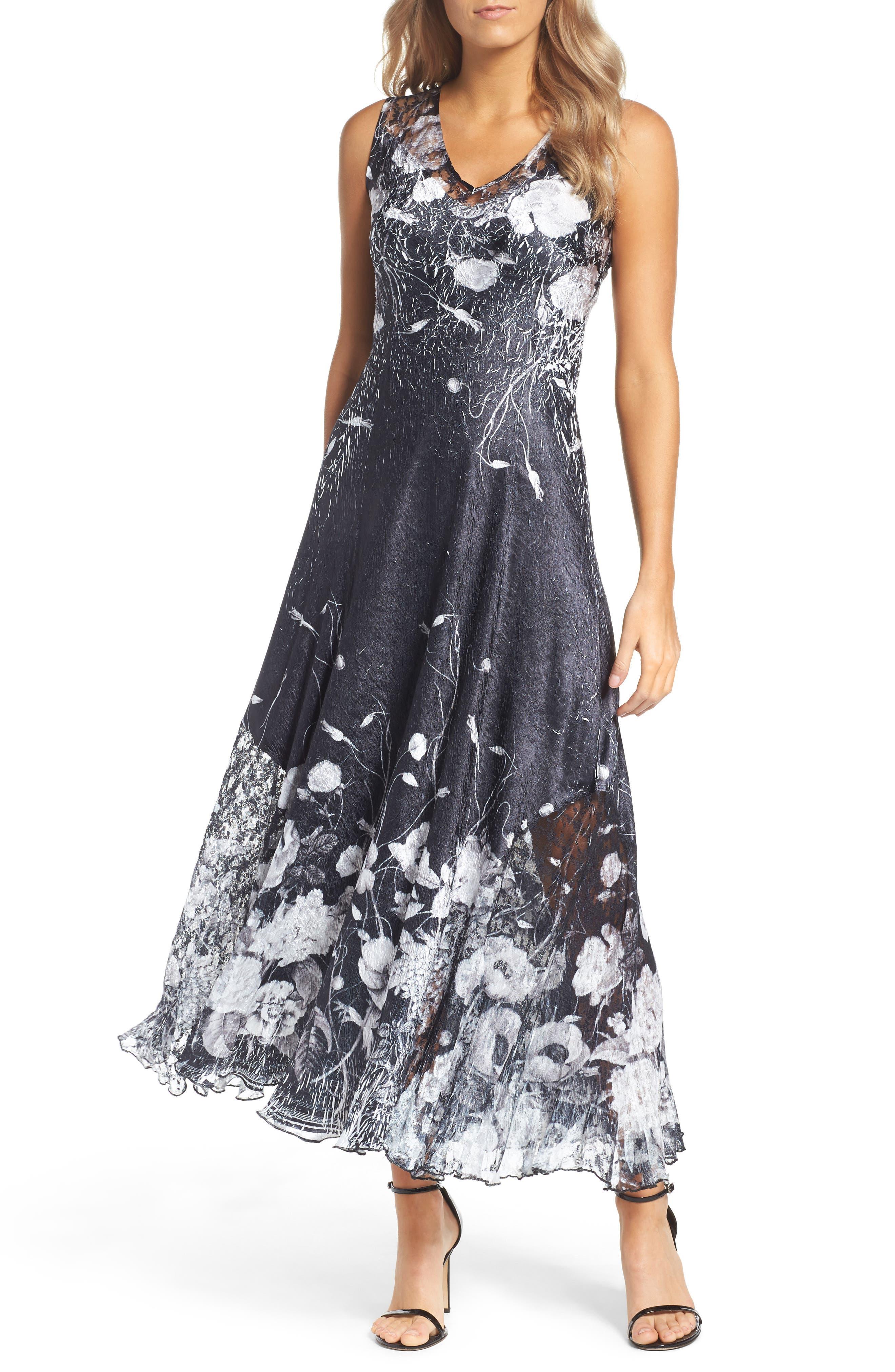 KOMAROV, Lace-Up Back Maxi Dress with Wrap, Alternate thumbnail 6, color, 001