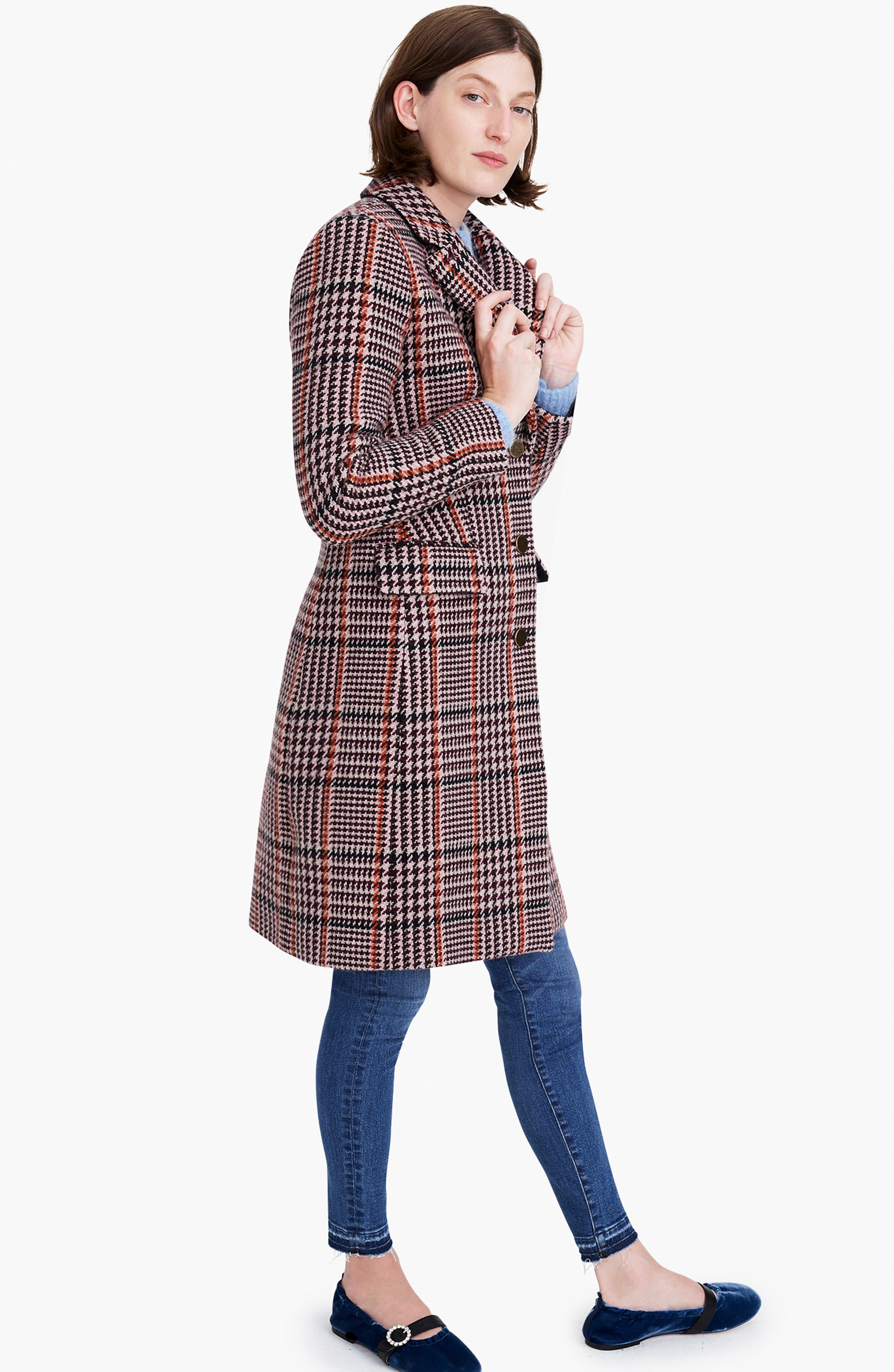 J.CREW, Plaid Single Breasted Topcoat, Alternate thumbnail 9, color, 600