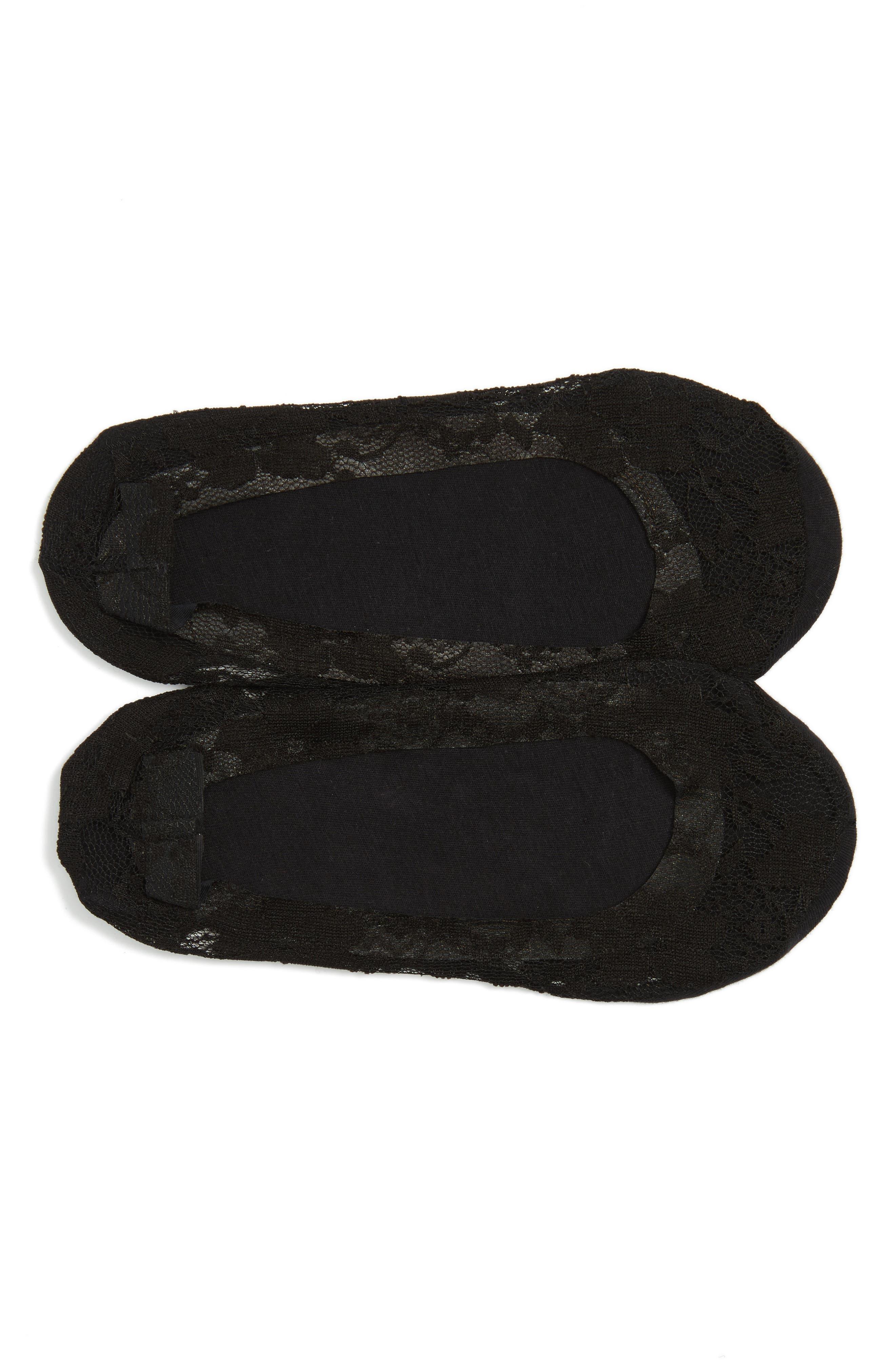 NORDSTROM, 2-Pack Lace Liner Socks, Main thumbnail 1, color, BLACK
