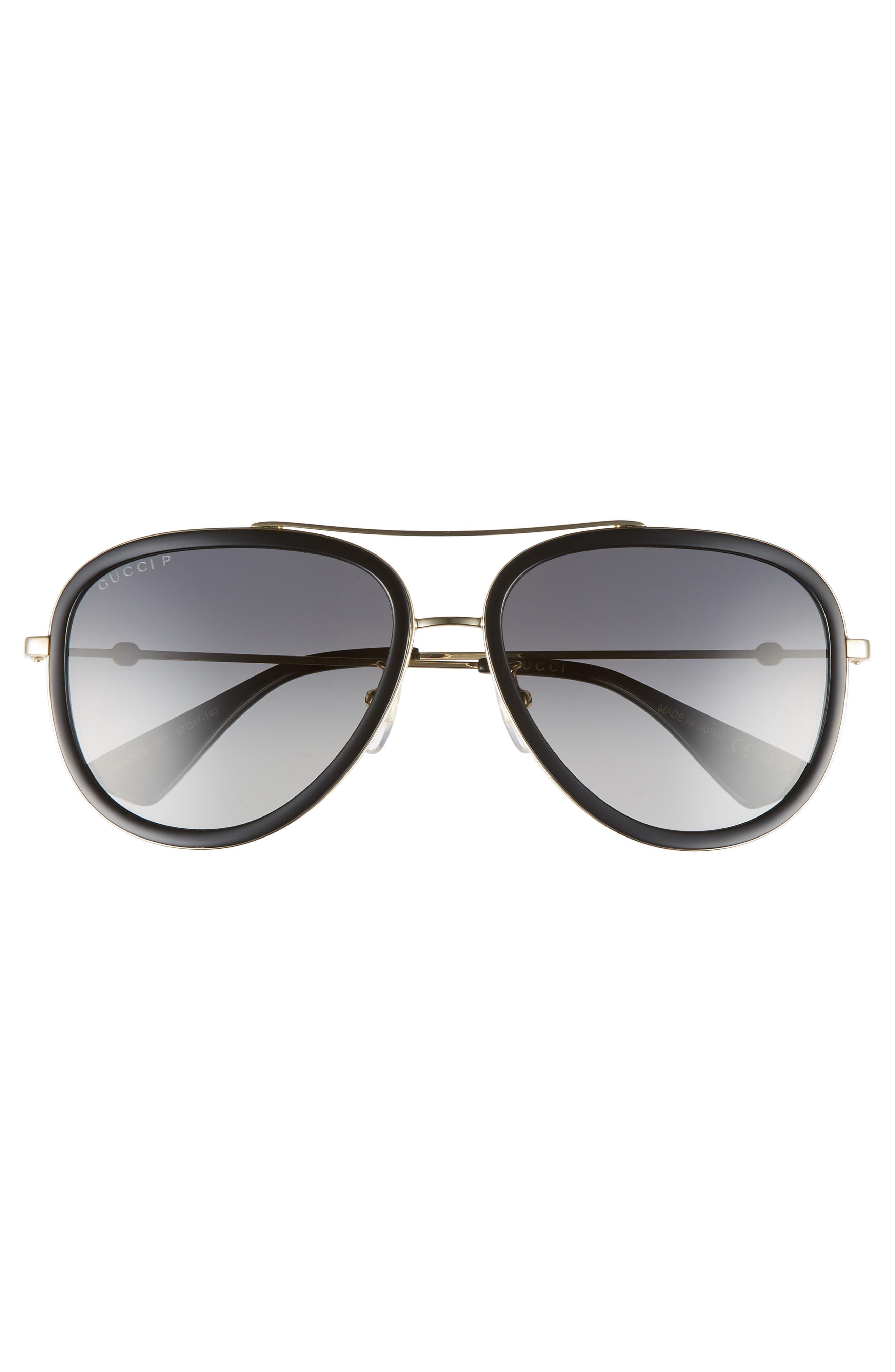 GUCCI, 57mm Polarized Metal Aviator Sunglasses, Alternate thumbnail 3, color, 710
