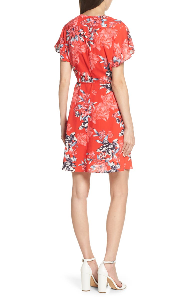 4714983bbe8 French Connection Verona Colletta Faux Wrap Dress In Bright Flame ...