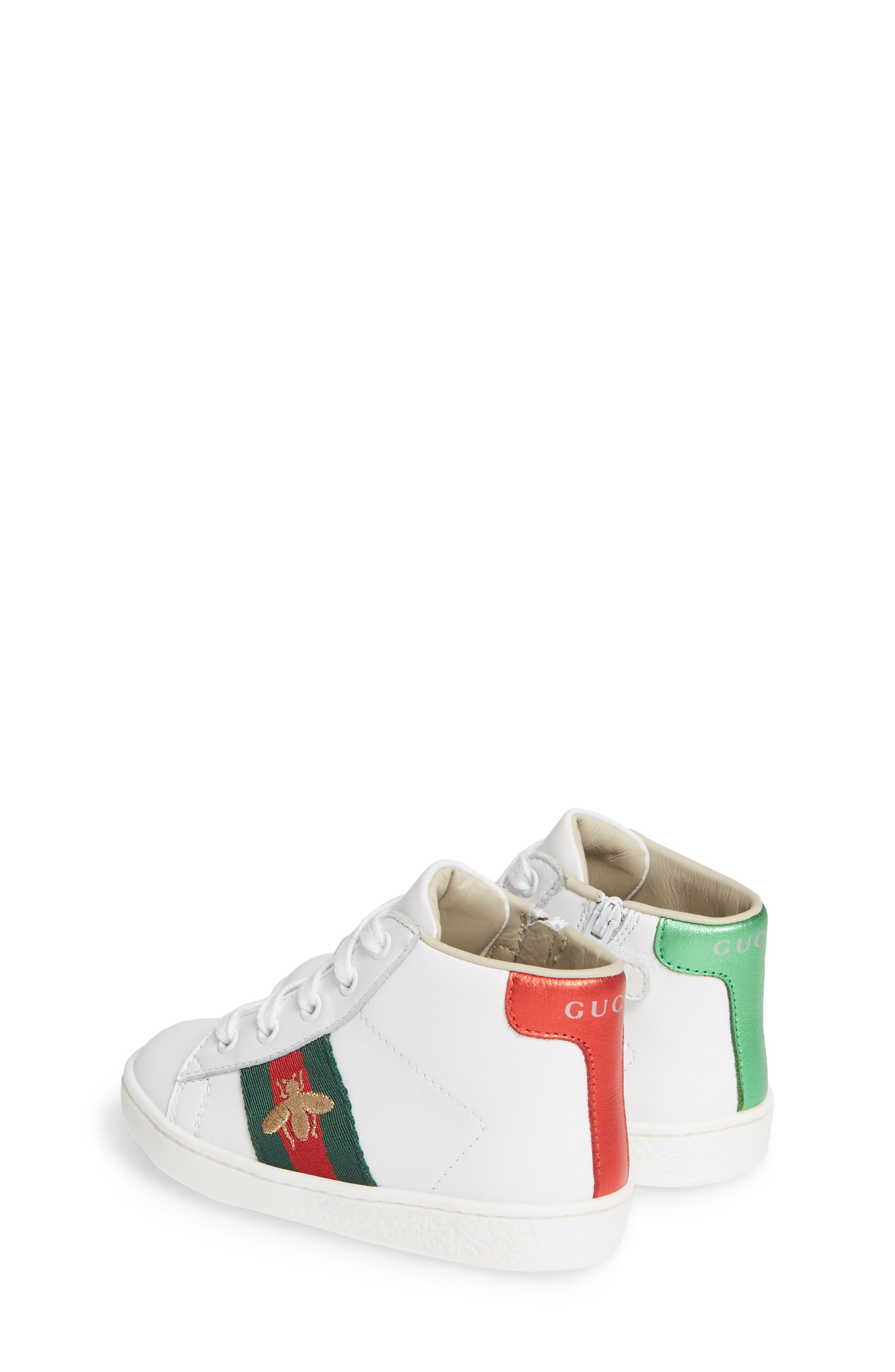 GUCCI, New Ace High Top Sneaker, Alternate thumbnail 3, color, WHITE MULTI