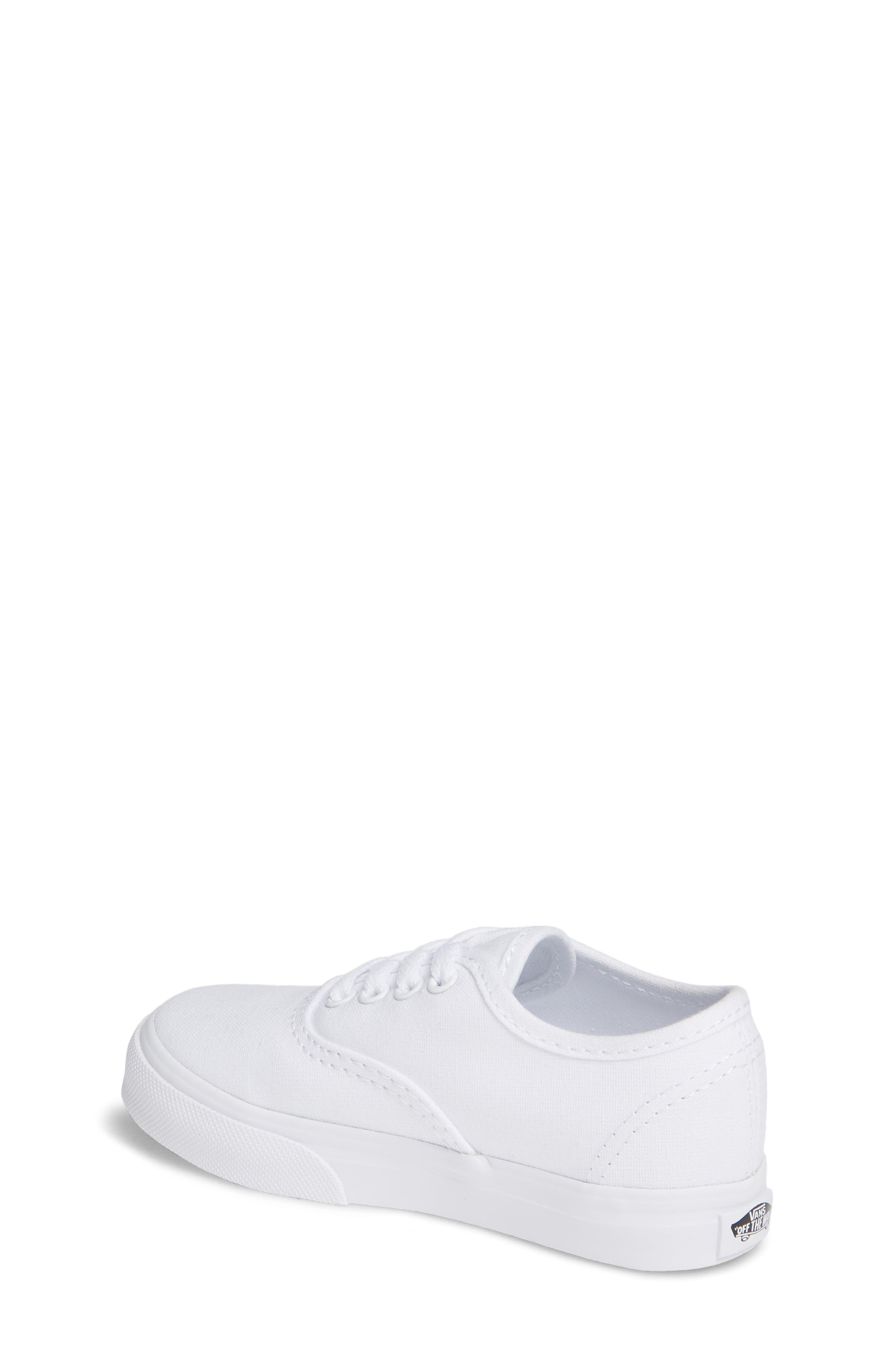 VANS, 'Authentic' Sneaker, Alternate thumbnail 2, color, TRUE WHITE/ WHITE
