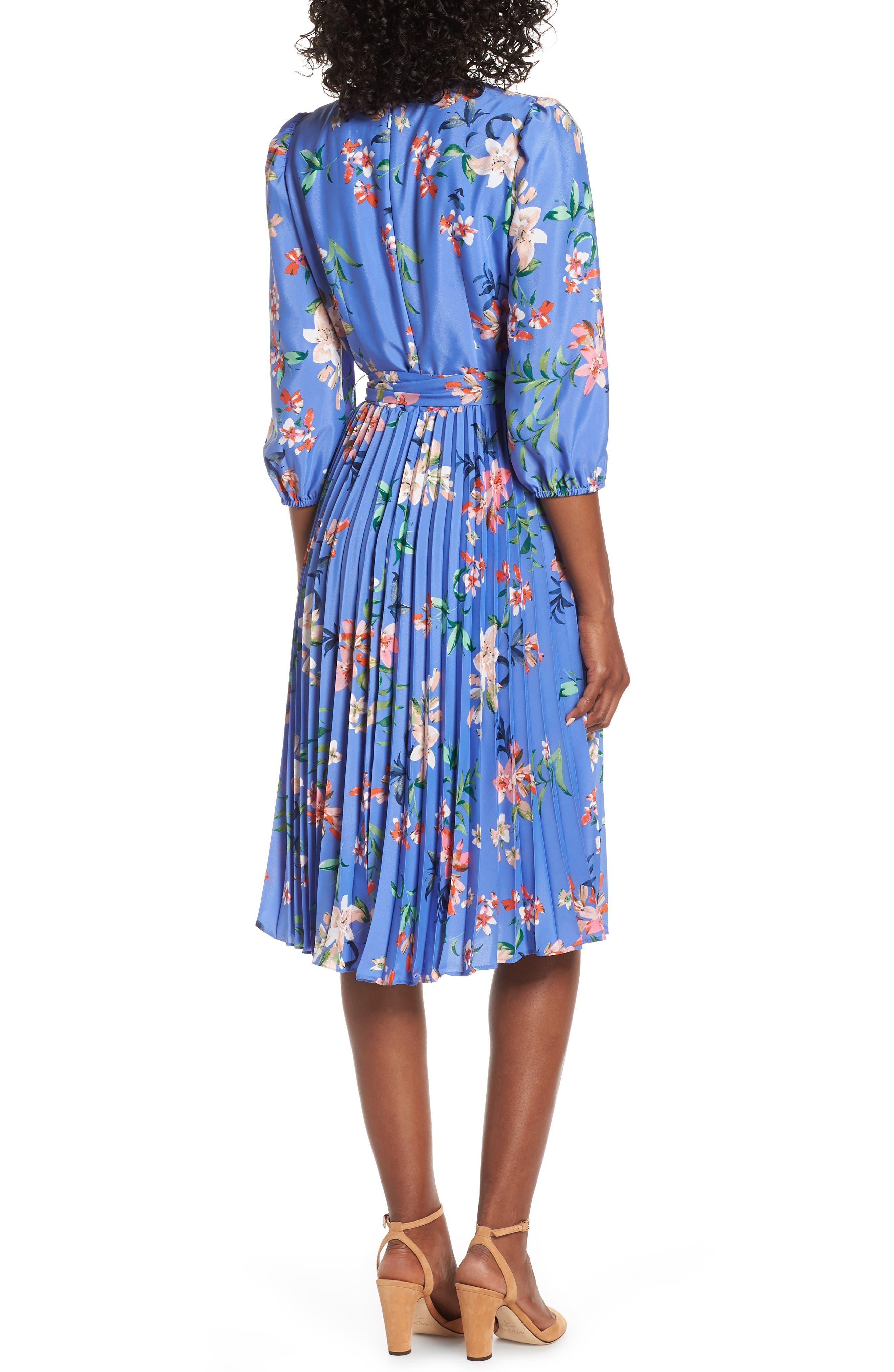 ELIZA J, Pleated Faux Wrap Dress, Alternate thumbnail 2, color, BLUE