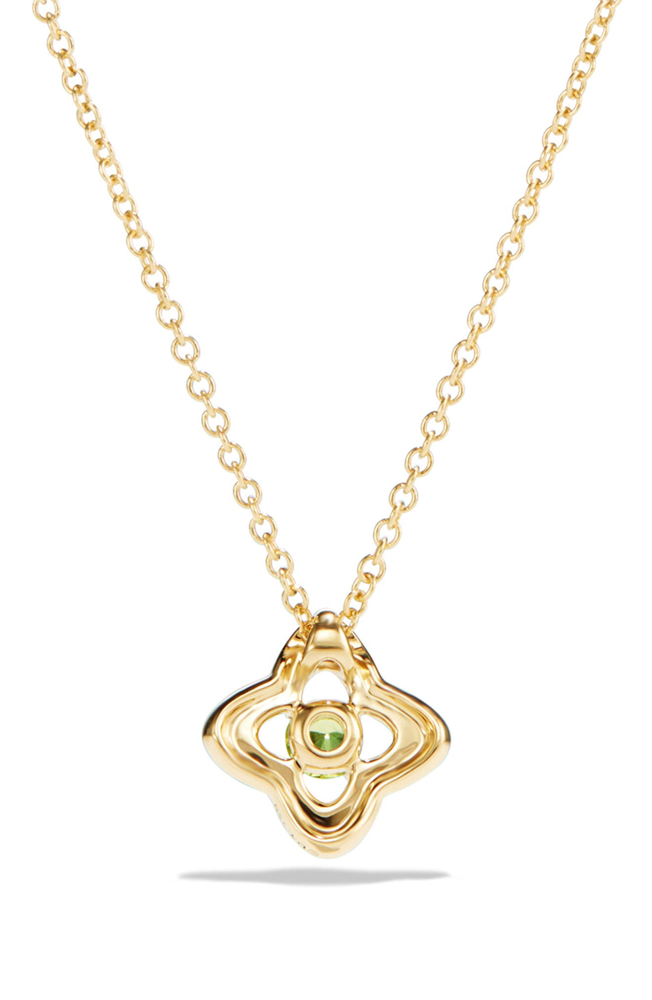 DAVID YURMAN, 'Venetian Quatrefoil' Necklace with Diamonds in 18K Gold, Alternate thumbnail 3, color, PERIDOT