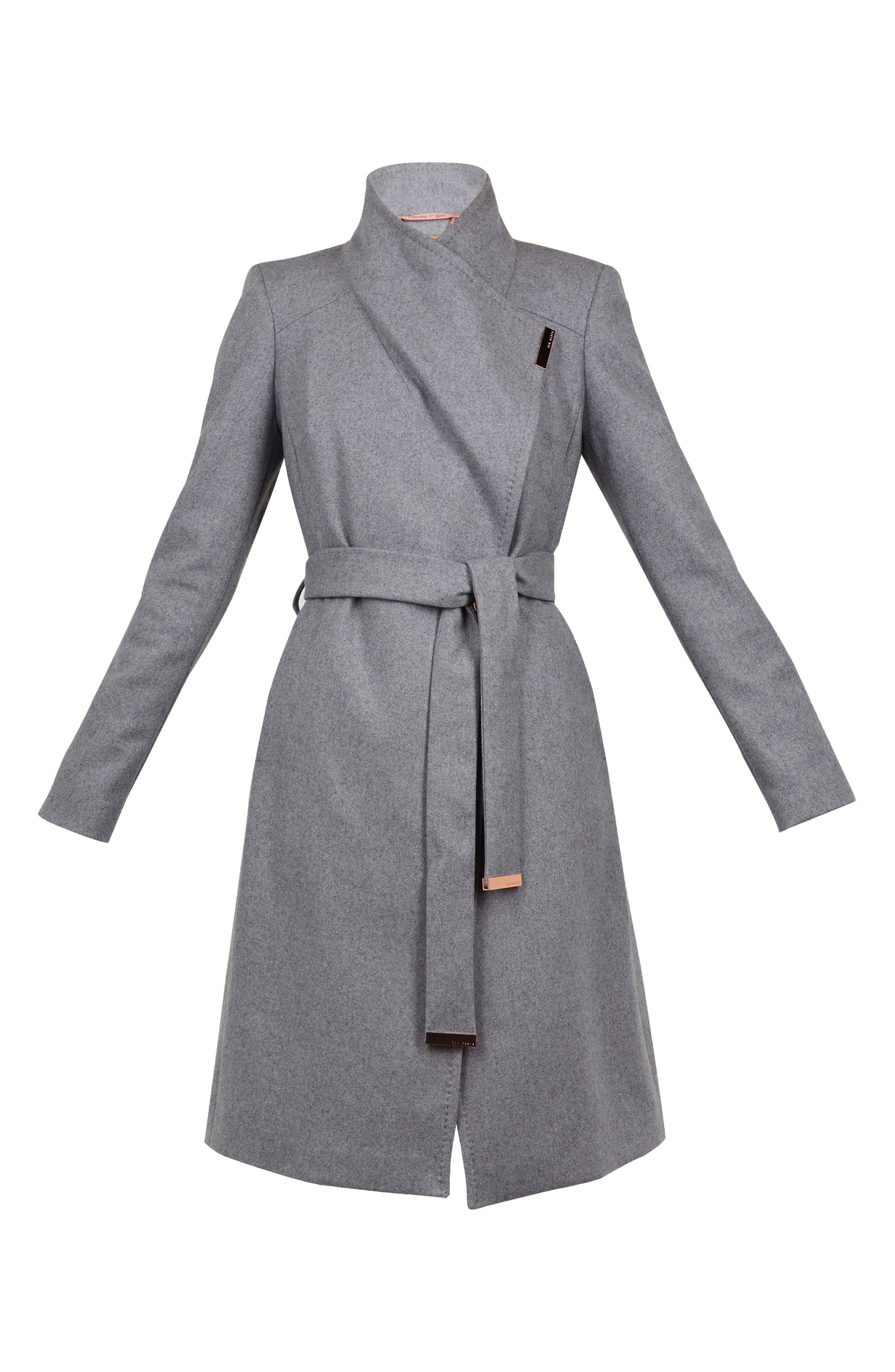 TED BAKER LONDON, Wool Blend Long Wrap Coat, Alternate thumbnail 6, color, 030