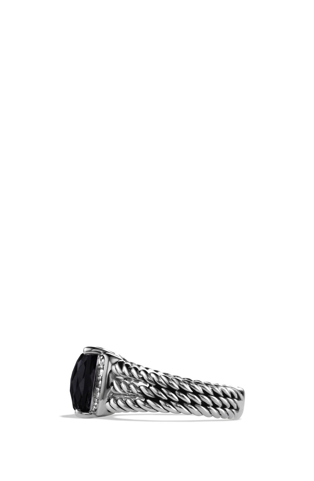 DAVID YURMAN, 'Wheaton' Petite Ring with Semiprecious Stone & Diamonds, Alternate thumbnail 4, color, BLACK ONYX
