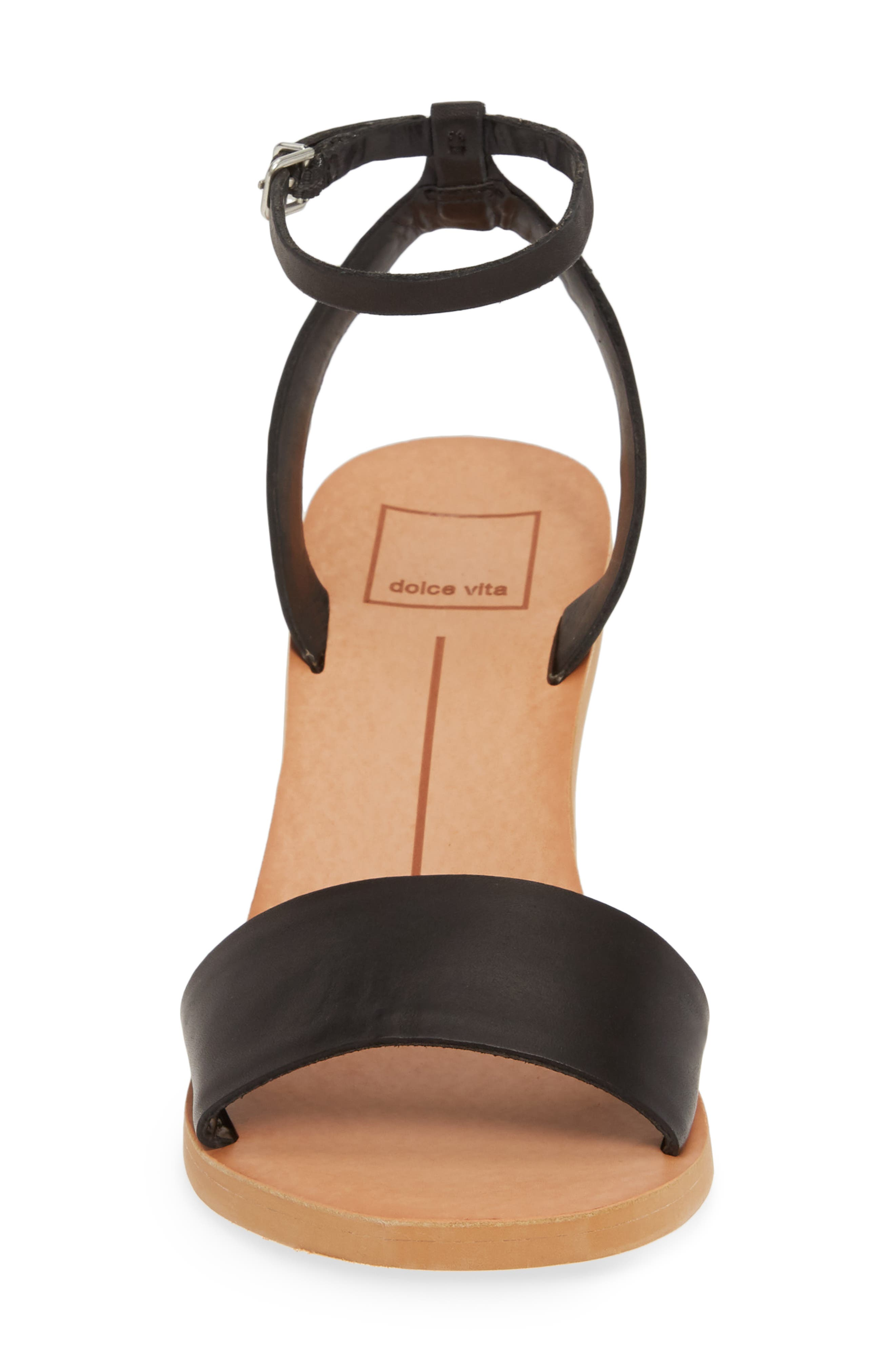 DOLCE VITA, Jali Column Heel Sandal, Alternate thumbnail 4, color, BLACK LEATHER