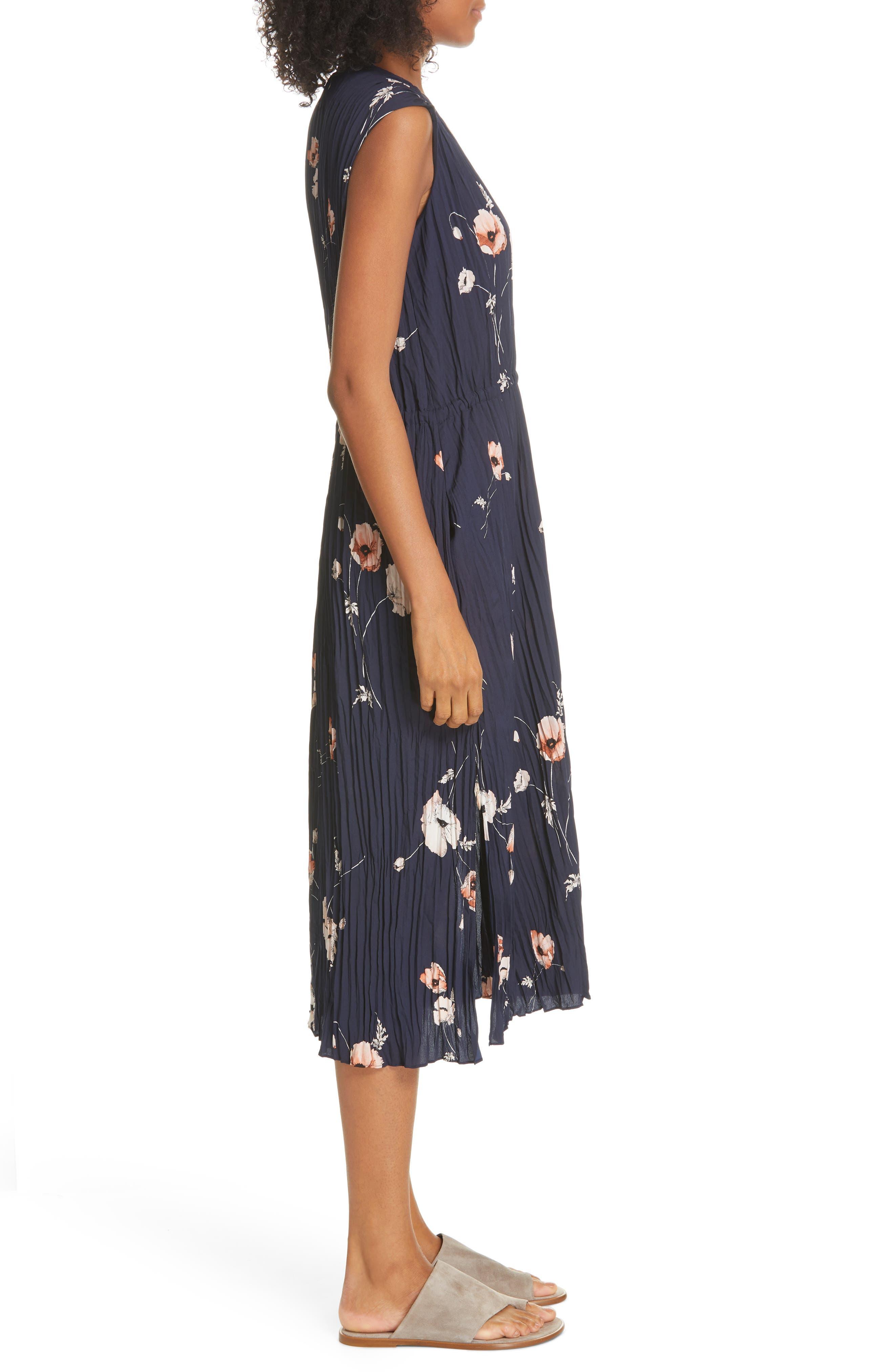 VINCE, Tossed Poppy Pleated Midi Dress, Alternate thumbnail 4, color, 427