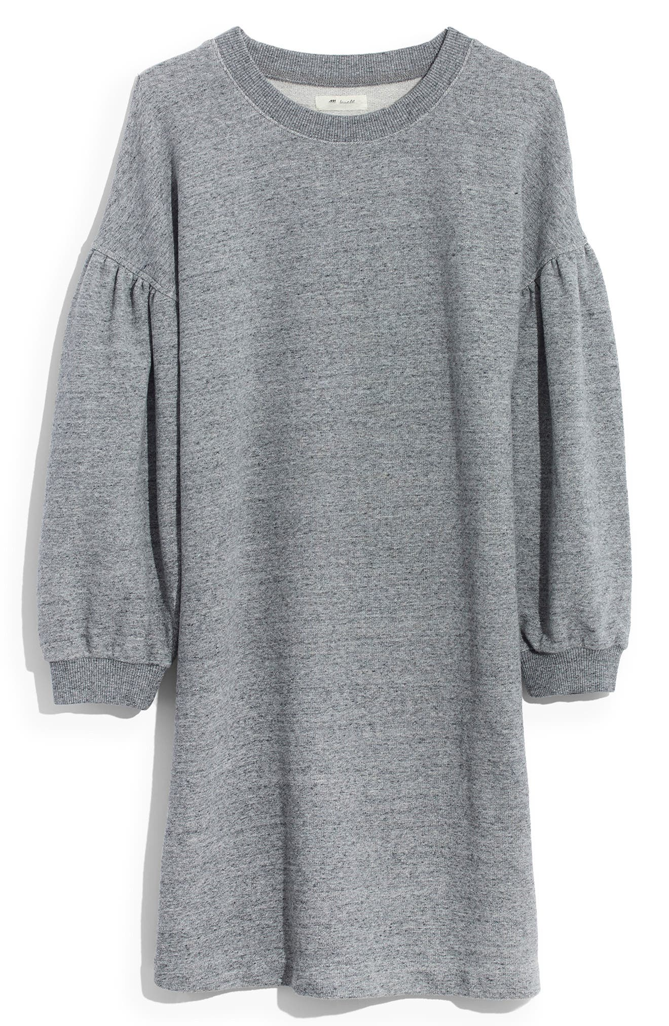 MADEWELL, Bubble Sleeve Sweatshirt Dress, Main thumbnail 1, color, 020