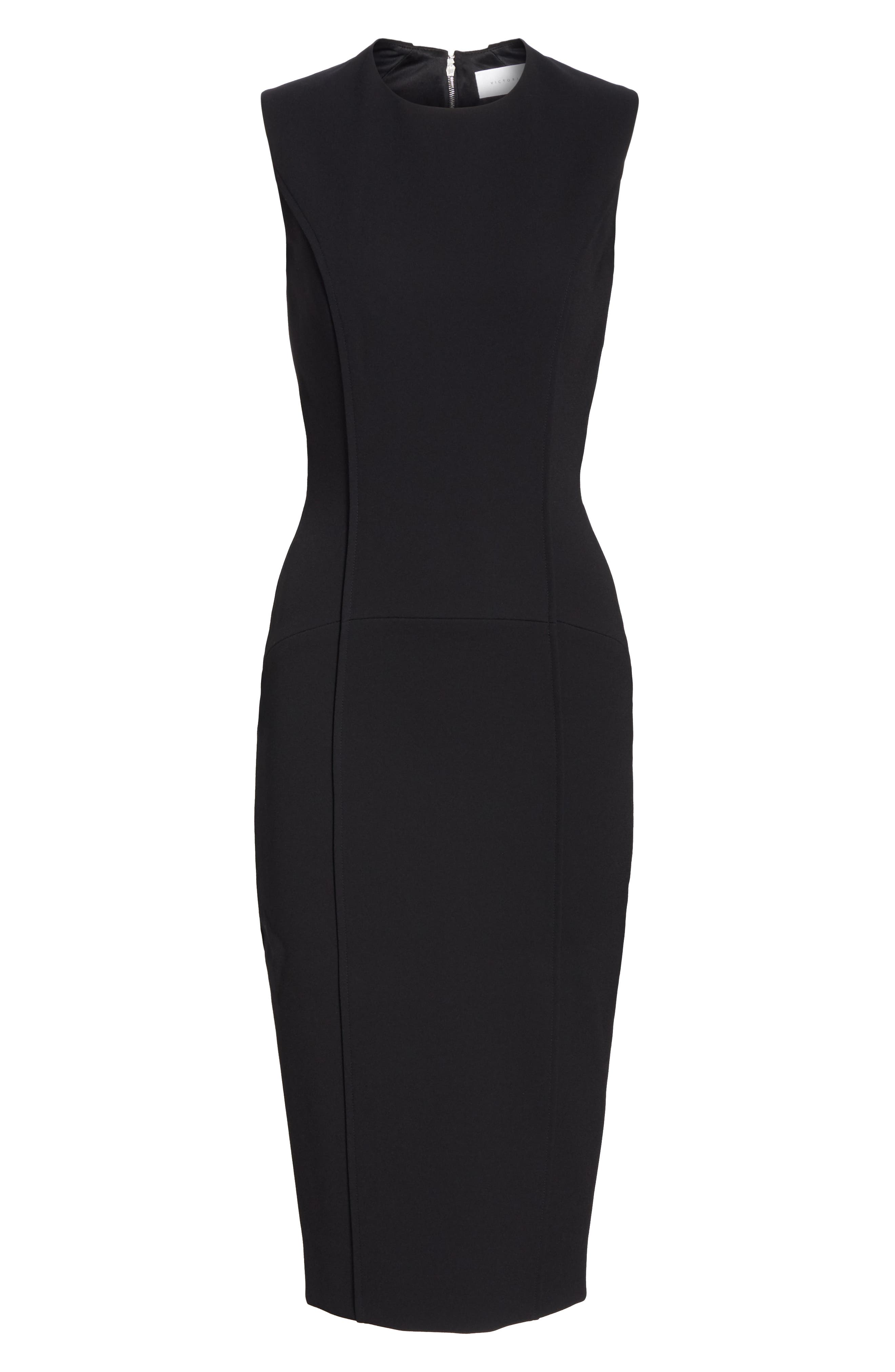 VICTORIA BECKHAM, Back Zip Body-Con Dress, Alternate thumbnail 7, color, BLACK